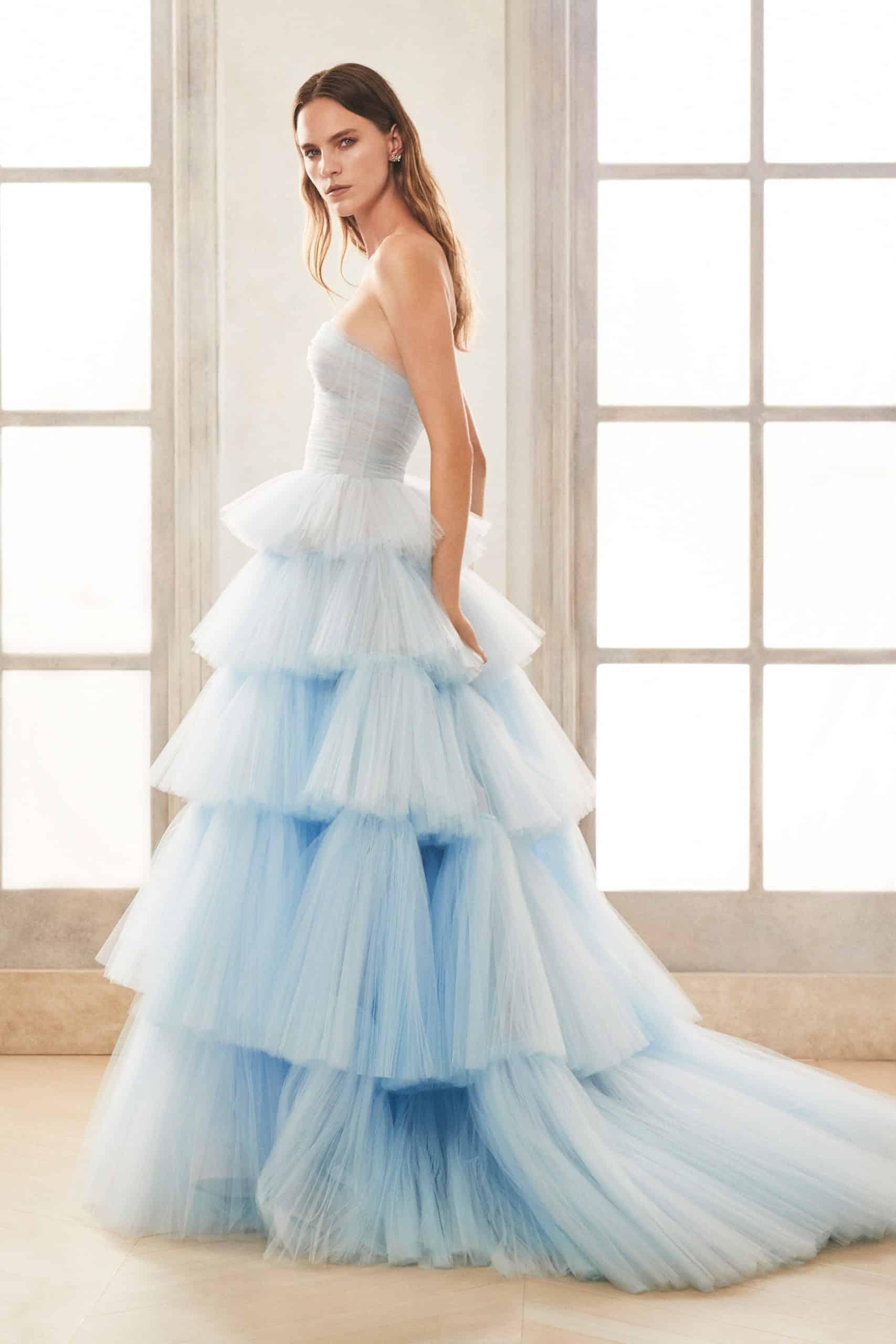 blue tulle strapless wedding dress by Oscar de la Renta