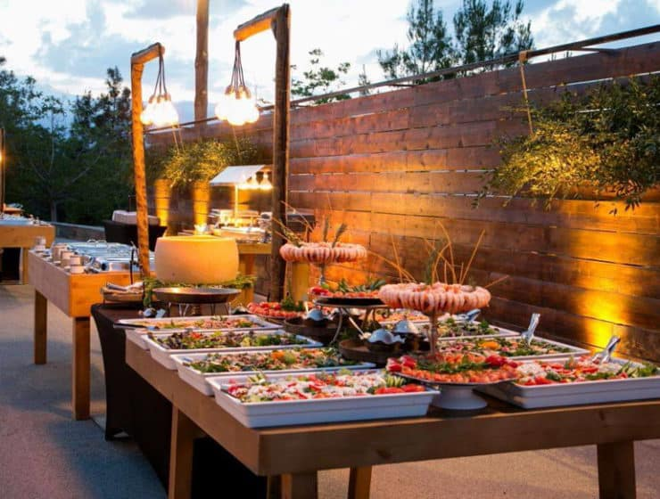 Wedding buffet display with decorative elements, available at Pandora Catering.