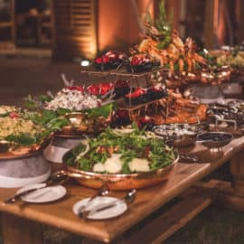 Wedding buffet food options and tableware, available at Pandora Catering.