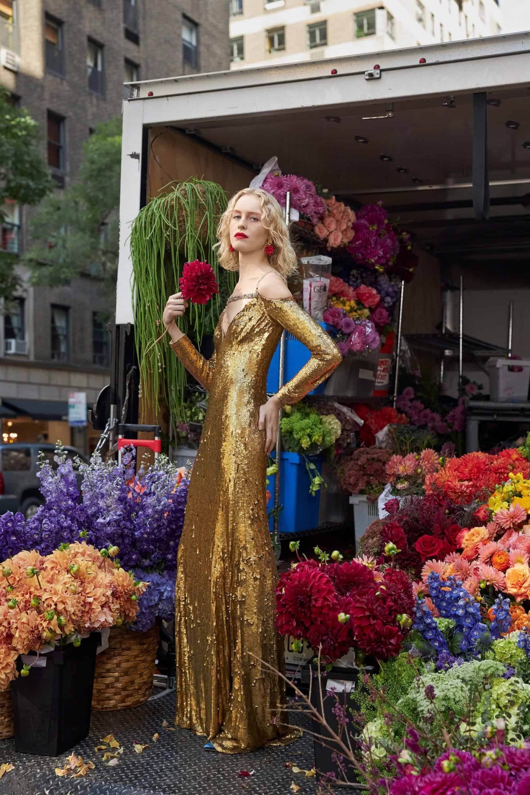 gold wedding dress by Reem Acra
