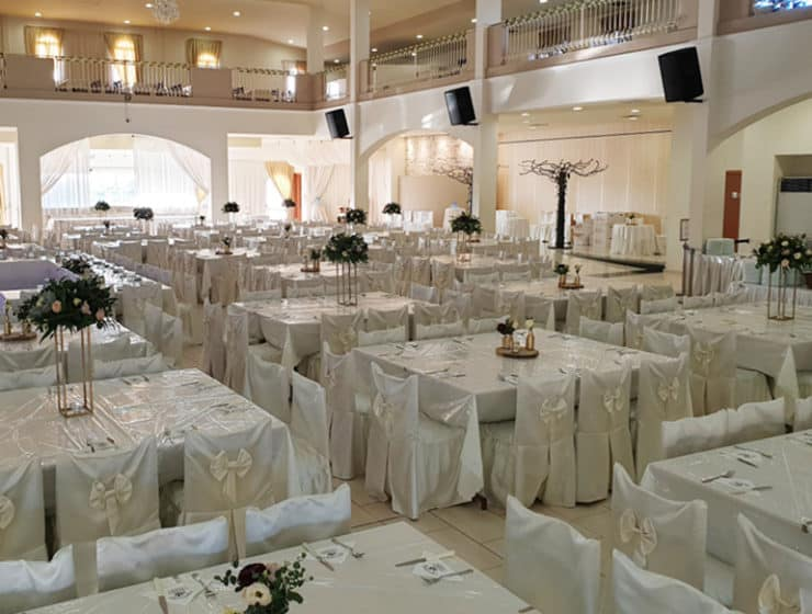 White wedding reception decorated in white, at Tamasiana Venue in Cyprus.