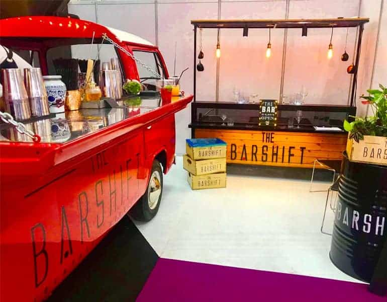 Red mobile bar minibus for wedding cocktail catering by The Barshift, found in Cyprus.
