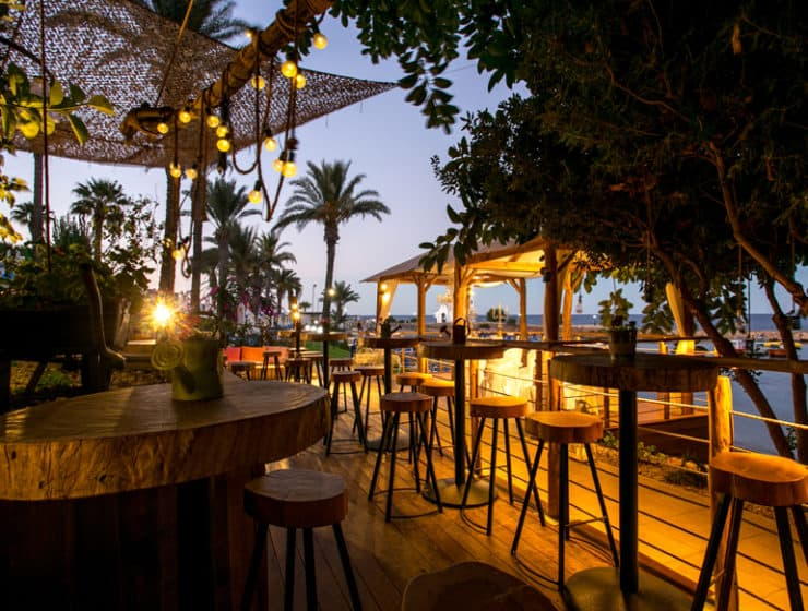 The bar area on the beach front at the Golden Coast Beach Hotel at Protaras, available for wedding receptions.