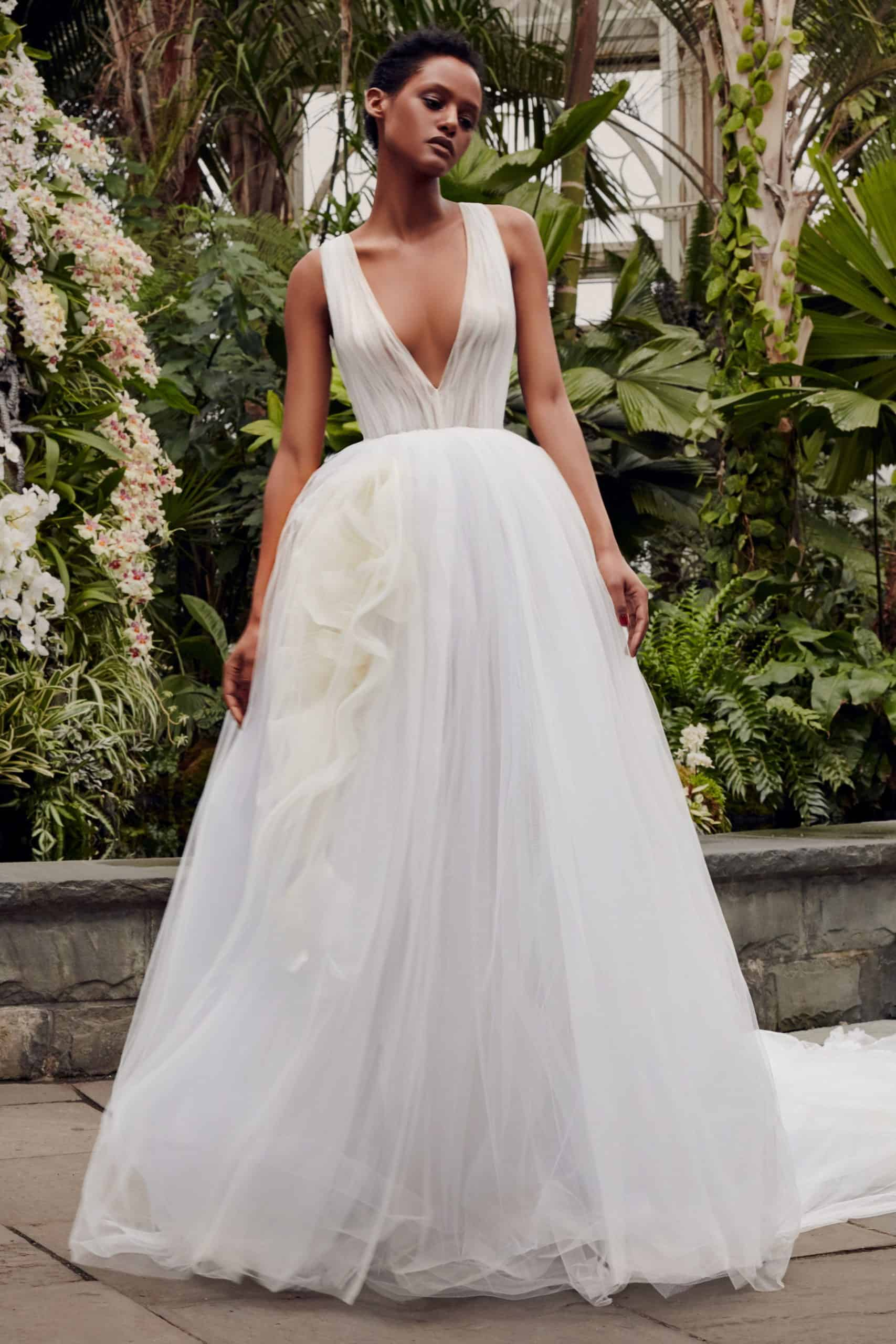 princess style wedding dress with tulle by Vera Wang
