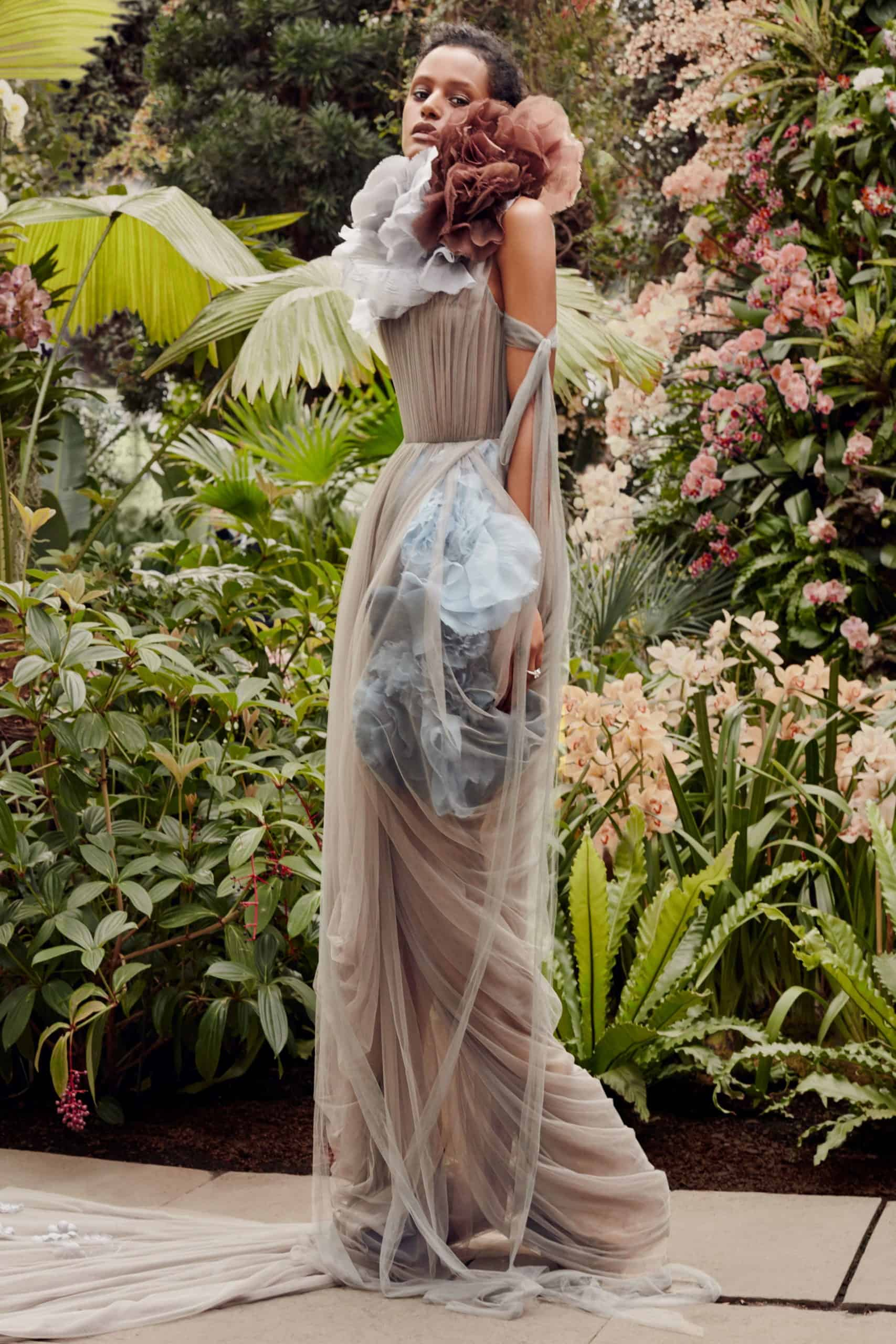 beige wedding dress with embossed flowers in dusty blue and brown colour by Vera Wang