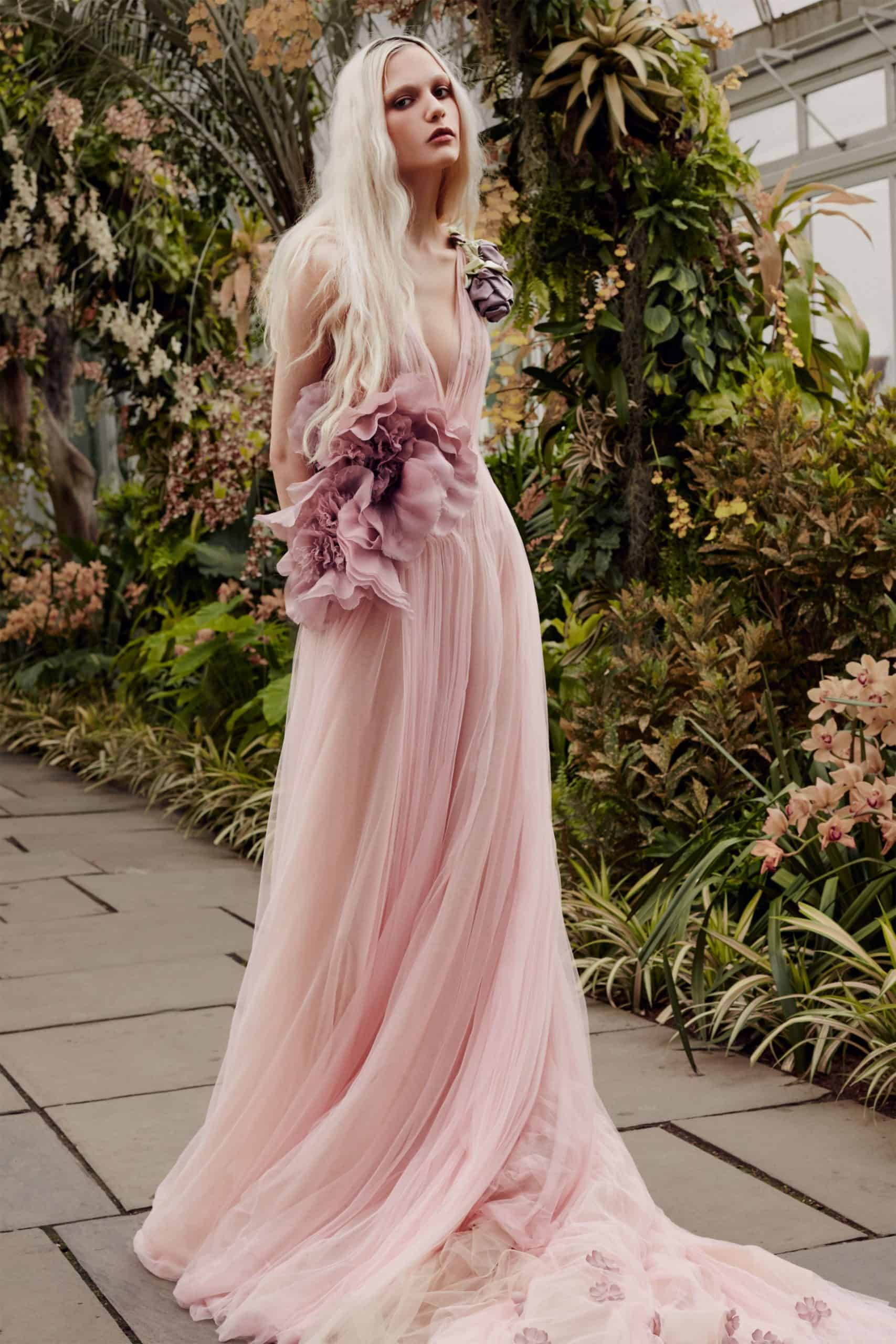 tulle pink wedding dress with embossed tulle flowers by Vera Wang