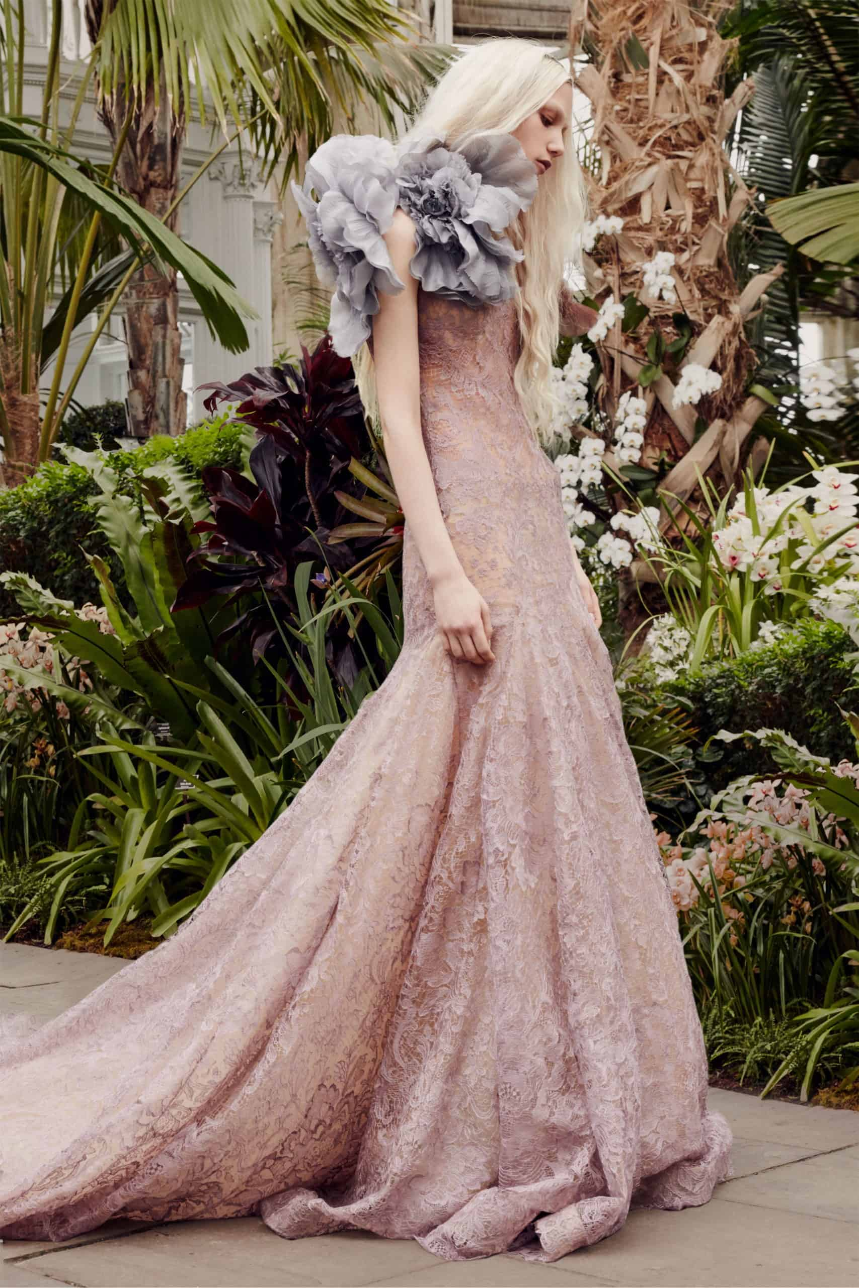 laced wedding dress in pink colour and a dusty blue lace collar