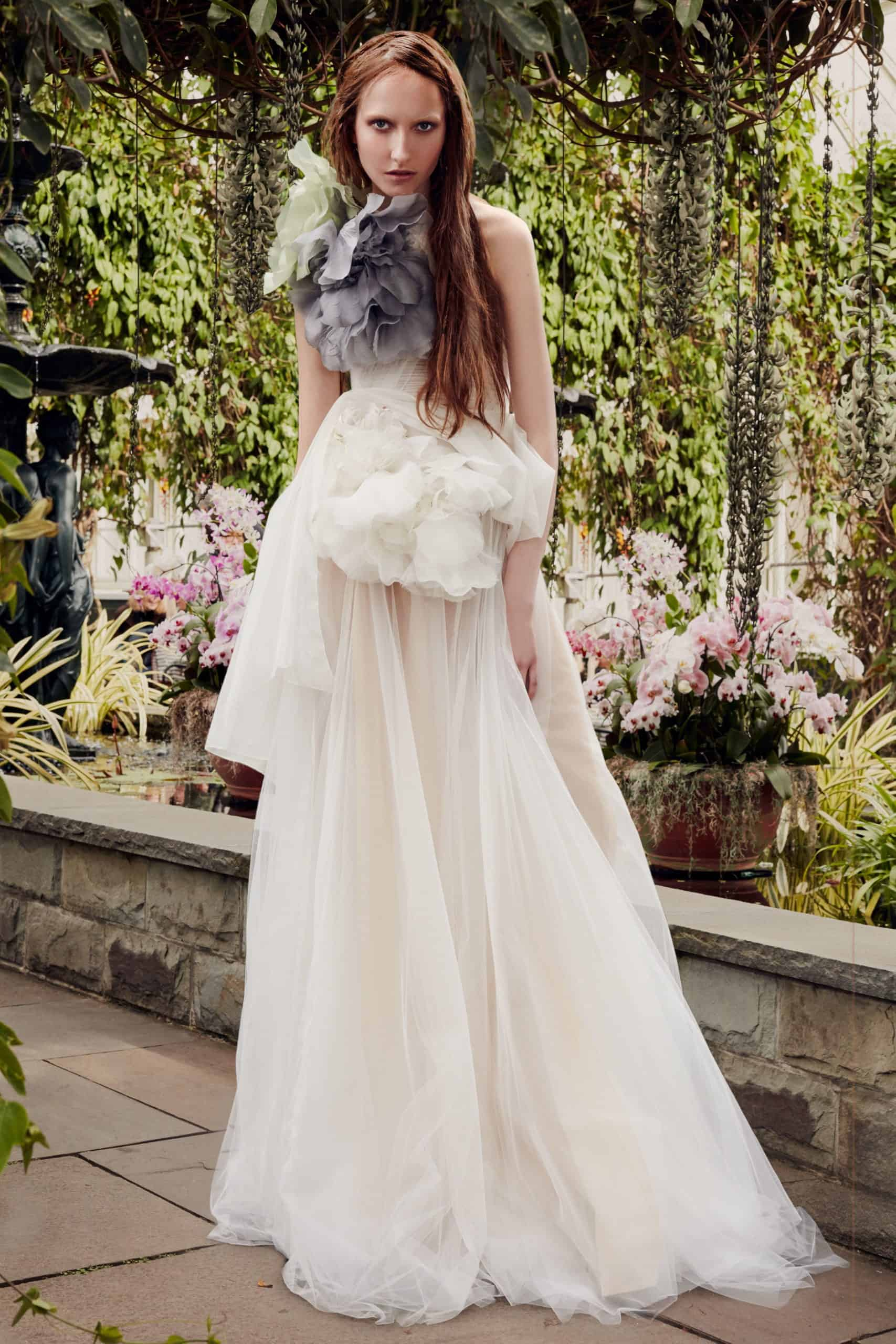 wedding dress with embossed floral collar by Vera Wang