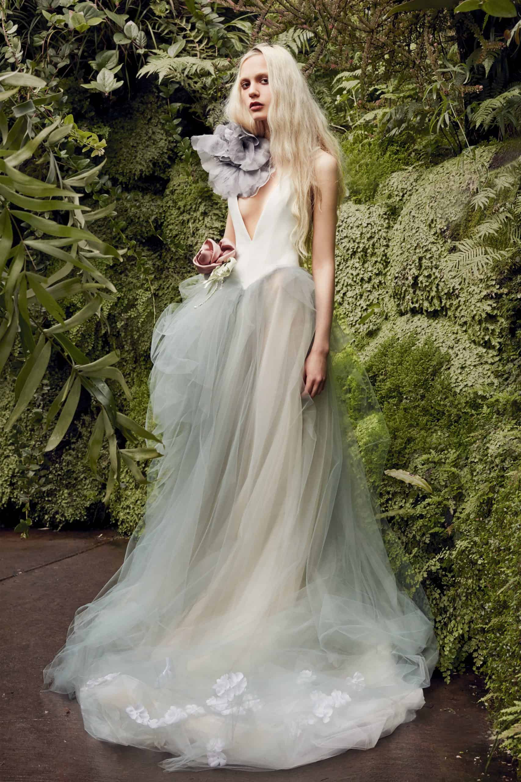 a-lined wedding dress in dusty green colours with embossed pink flower by Vera Wang