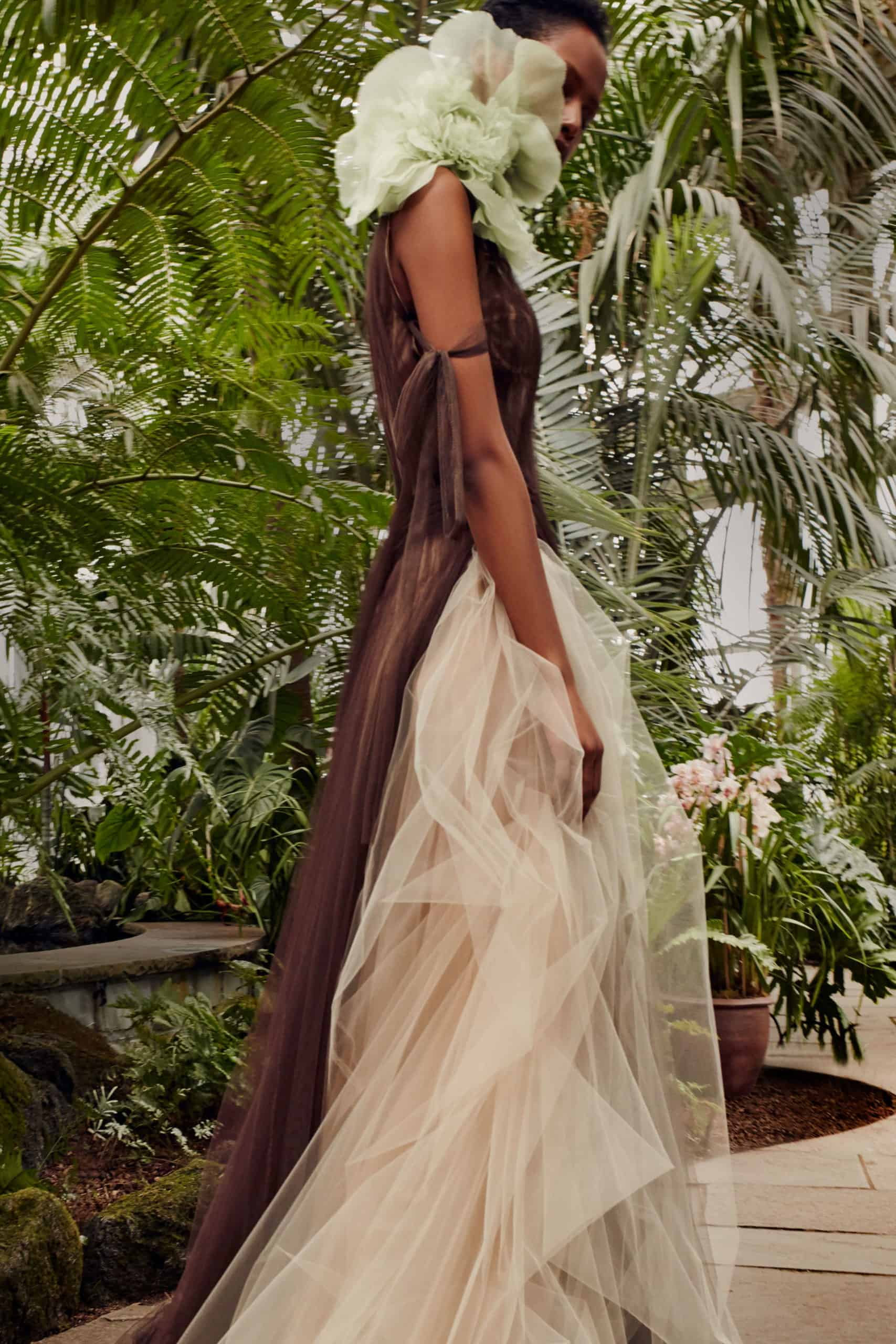 brown and beige wedding dress with a dusty green co