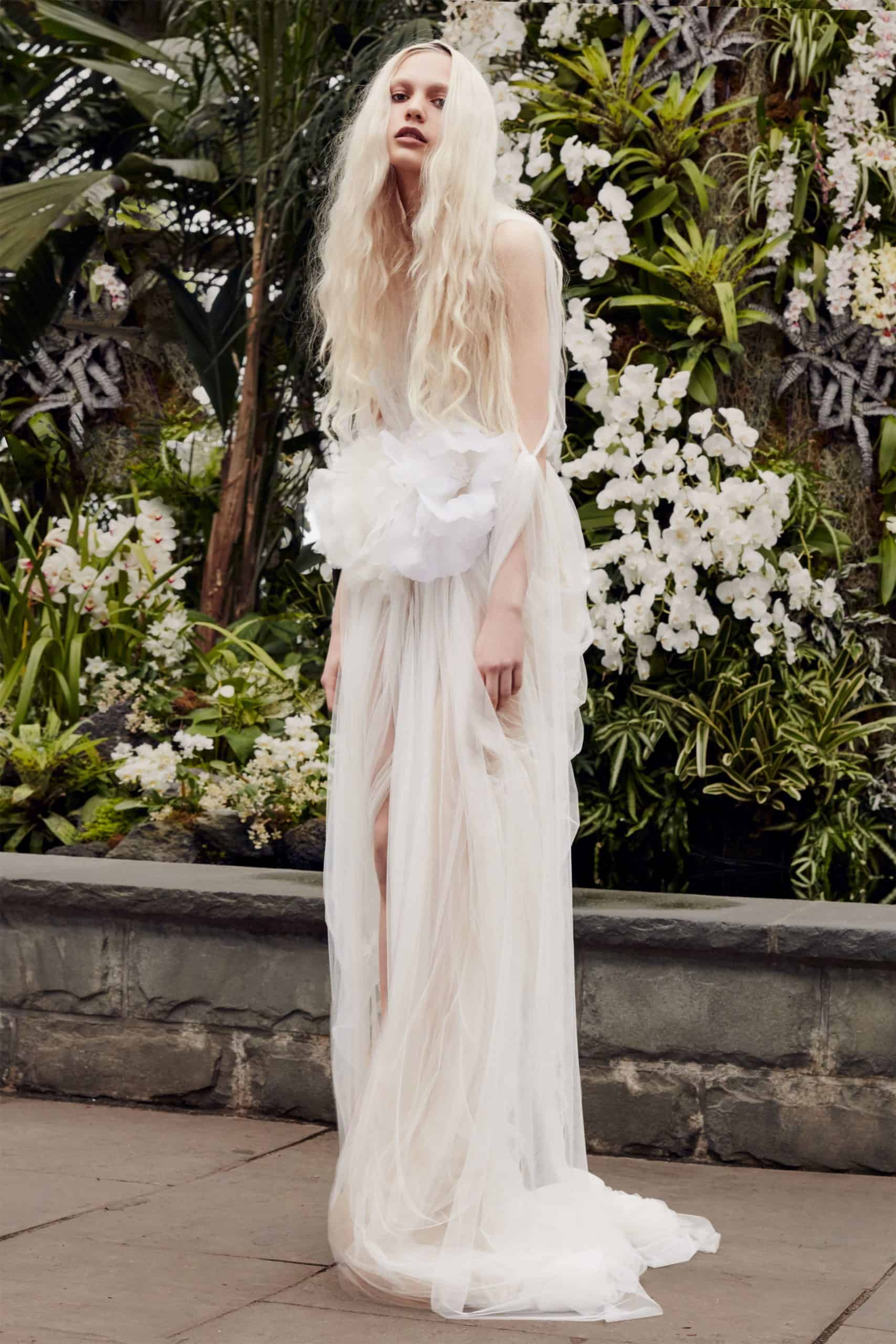 tulle wedding dress with a embossed flower by Vera Wang