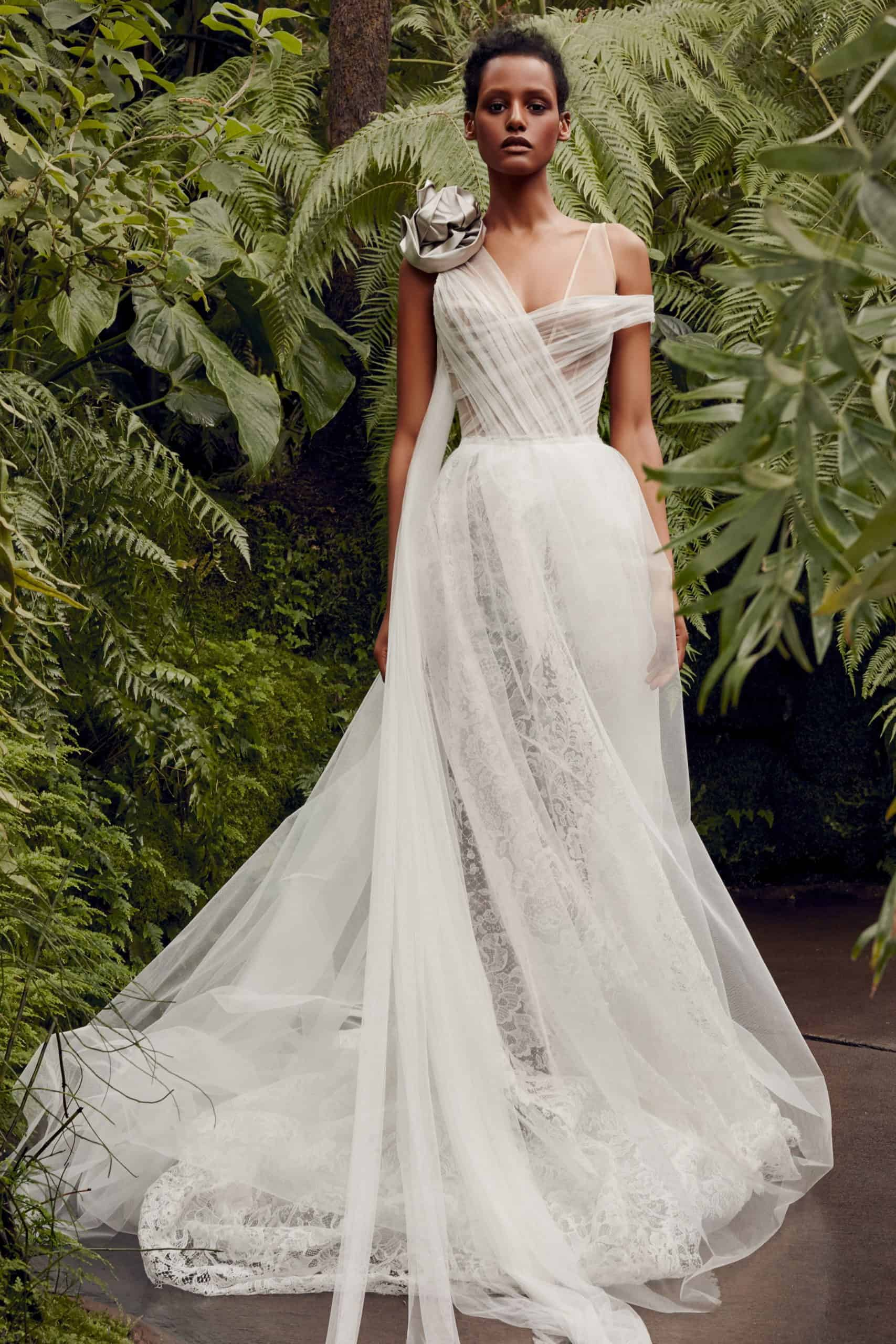 a-line wedding dress with embossed flower by Vera Wang