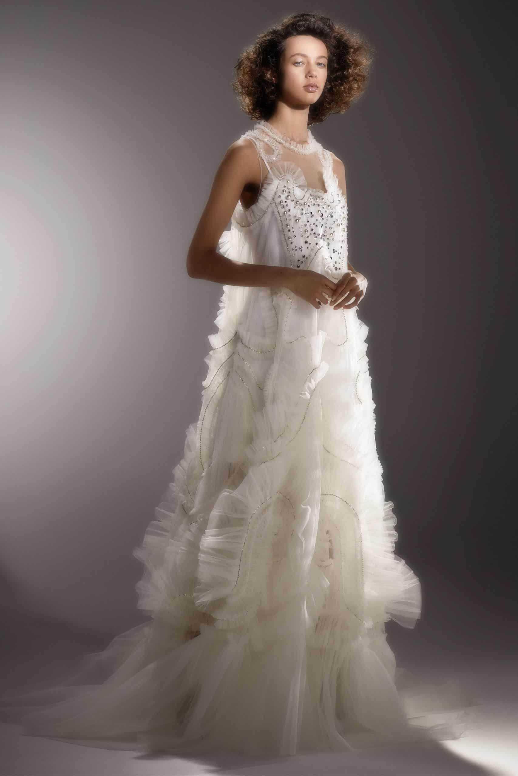 wedding dress with tulle and diamonds by Viktor and Rolf