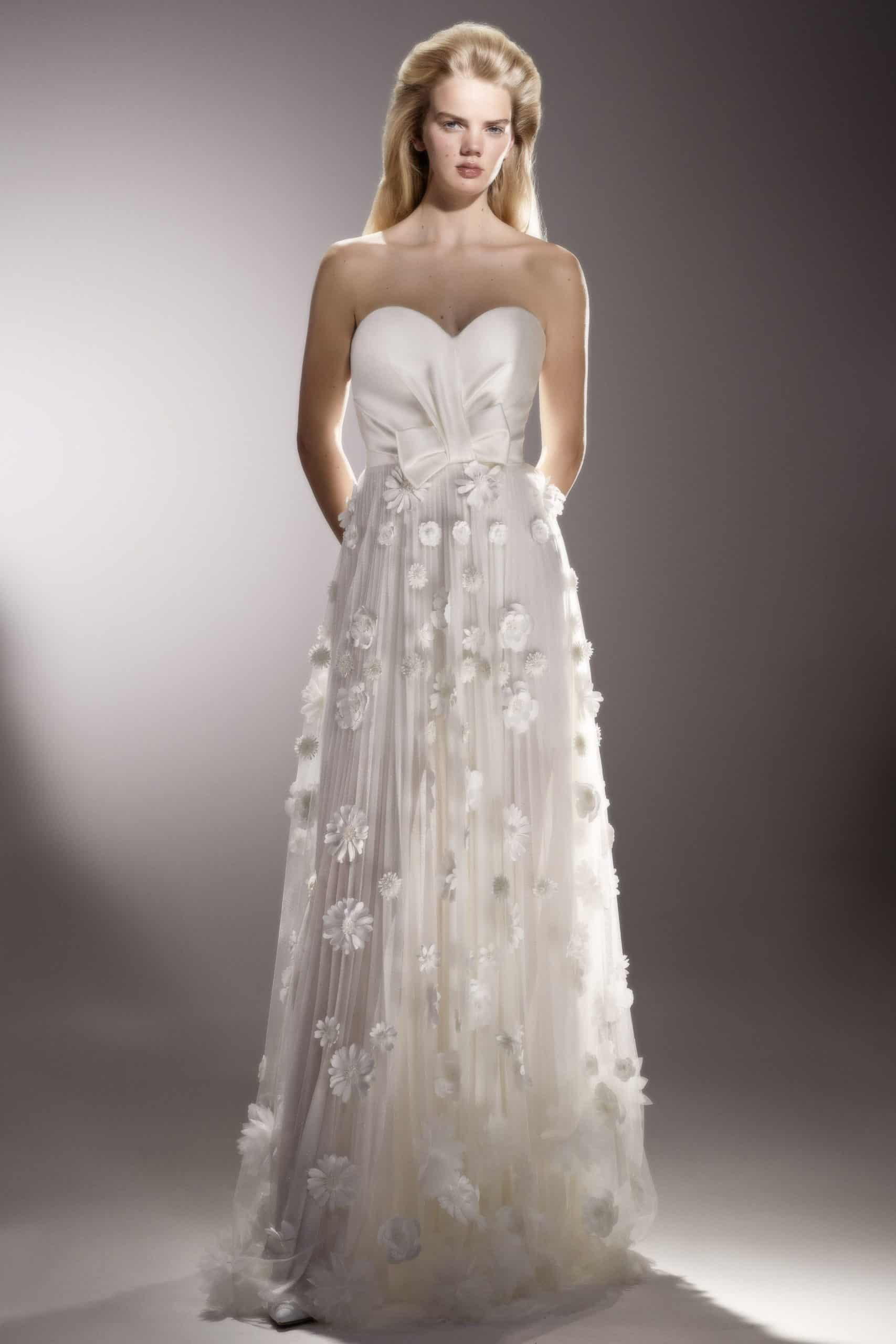 strapless wedding dress with embossed flowers by Viktor and Rolf