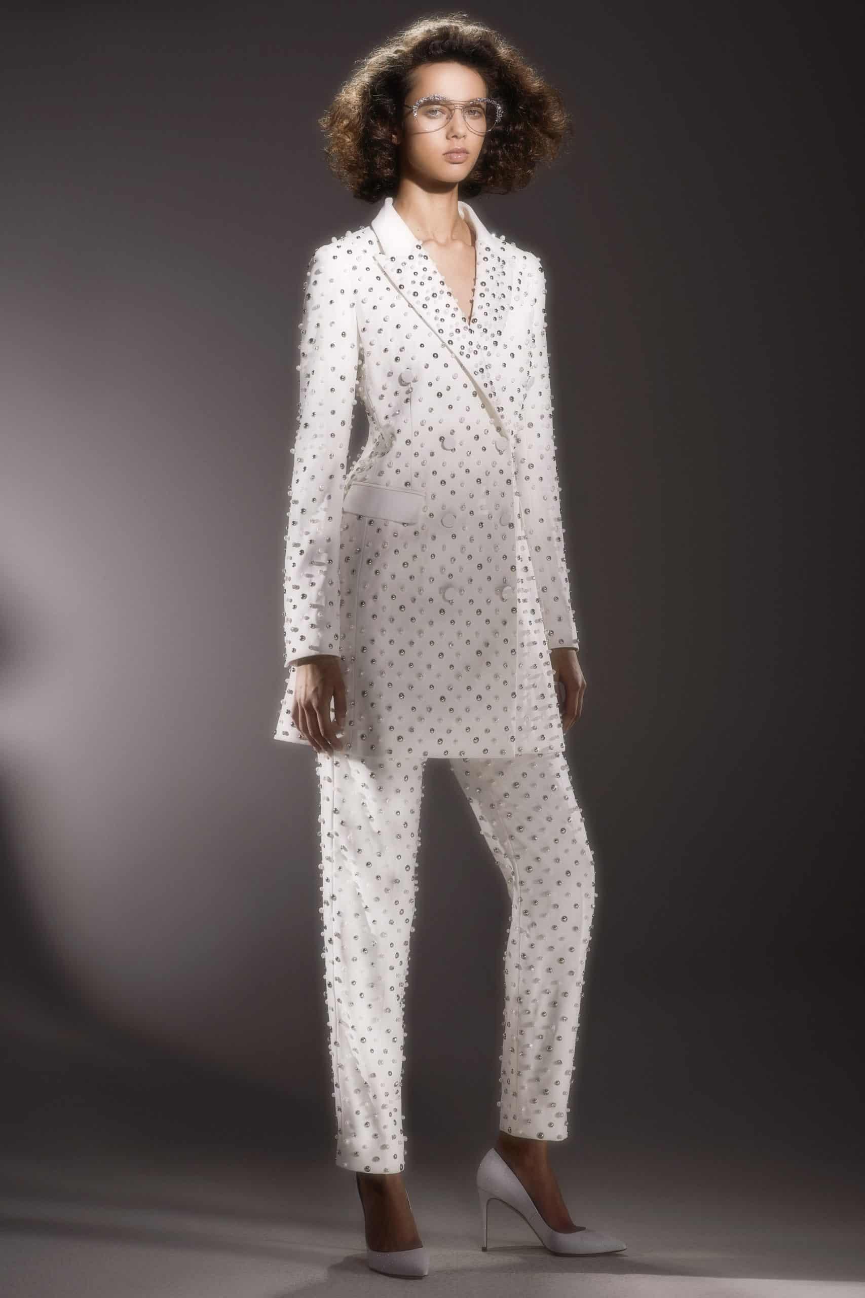 wedding suit with perals