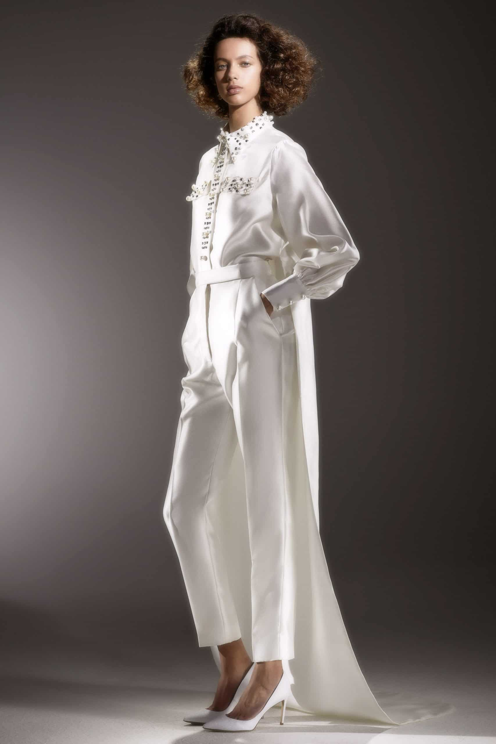 suit wedding dress with tail by Viktor and Rolf