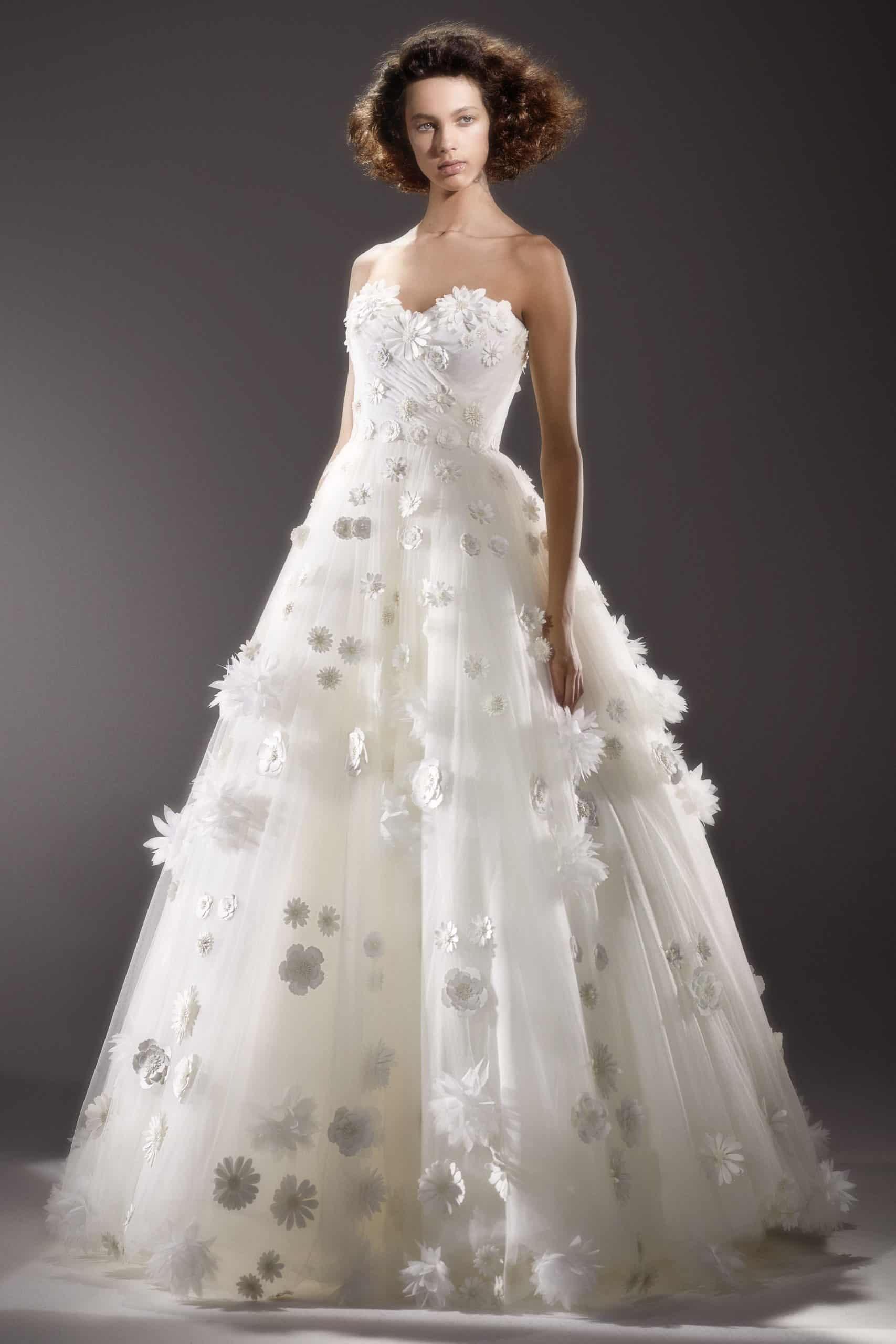 strapless wedding dress with embosses daisies by Viktor and Rolf