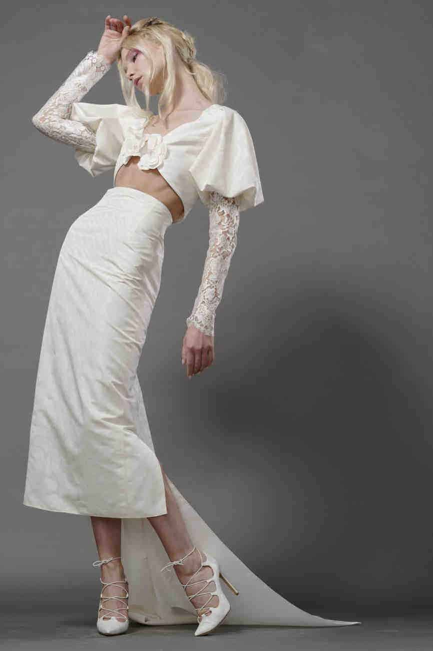 crop top wedding dress collection fall 2019 by Elizabeth Fillmore