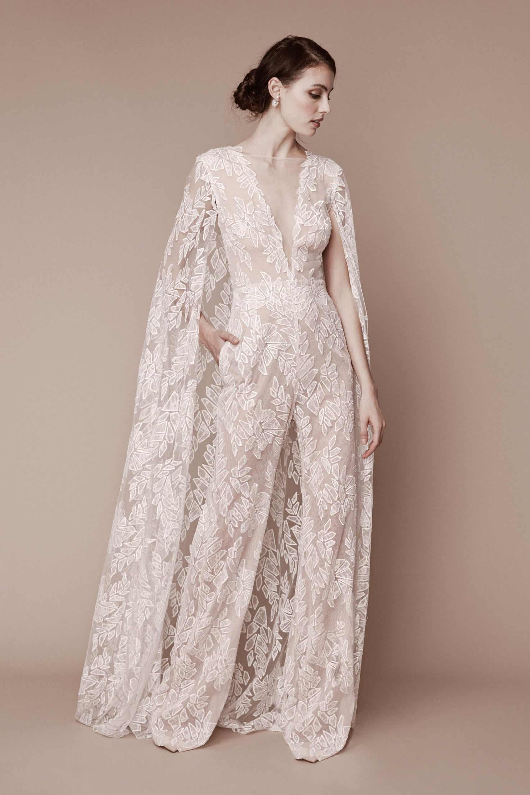 jumpsuit wedding dress collection fall 2019 by Tadashi Shoji