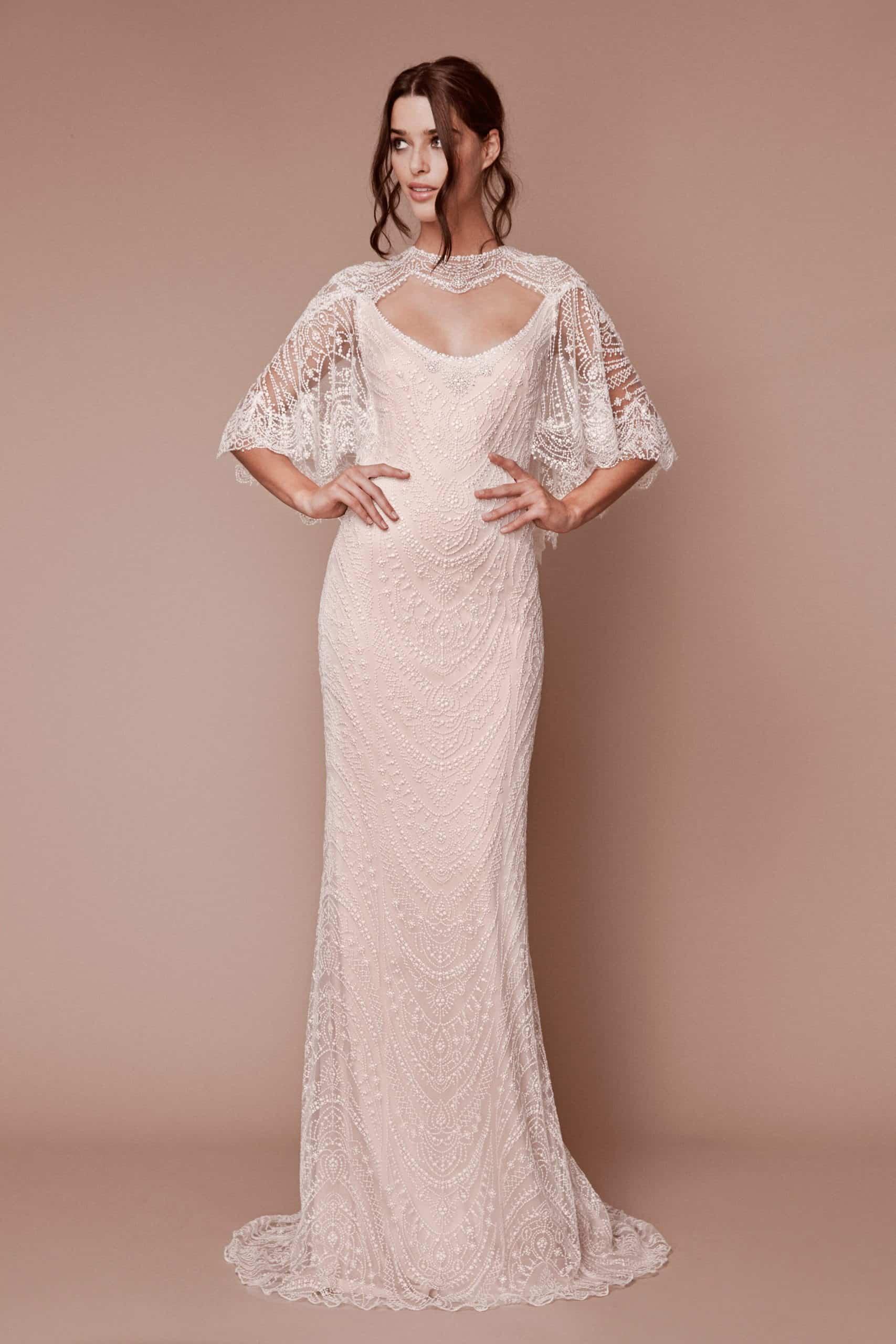 wedding dress with romantic sleeves collection fall 2019 by Tadashi Shoji