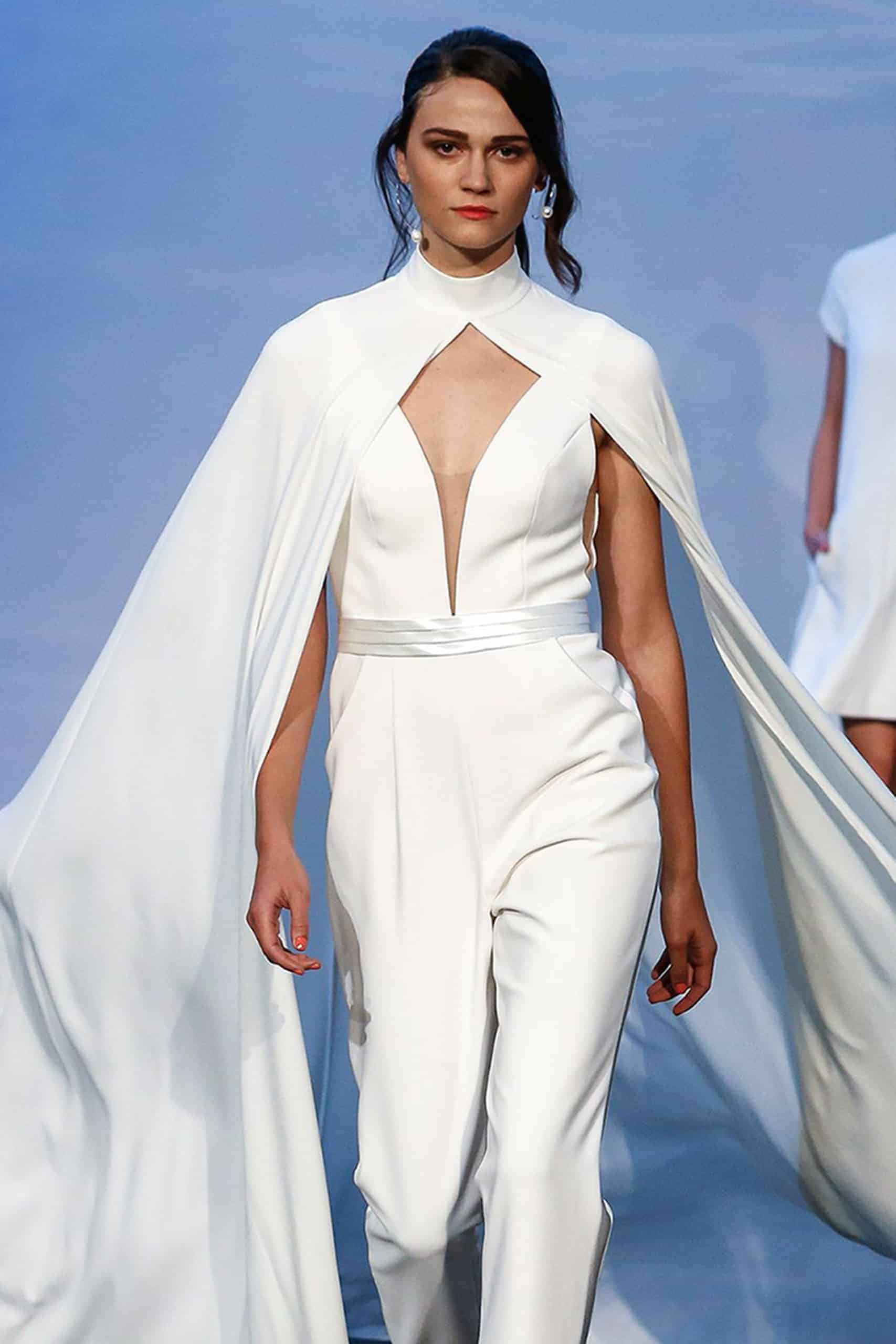 jumpsuit wedding dress collection fall 2019 by Justin Alexander