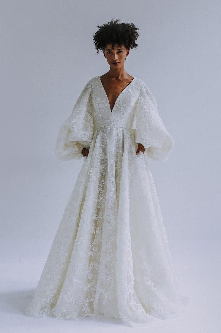 wedding dress with romantic sleeves collection fall 2019 by Leanne Marshall