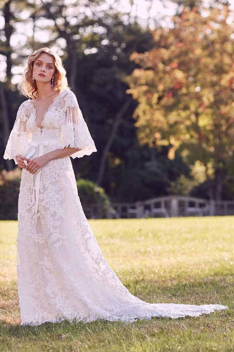 wedding dress with romantic sleeves collection fall 2019 by Marchesa