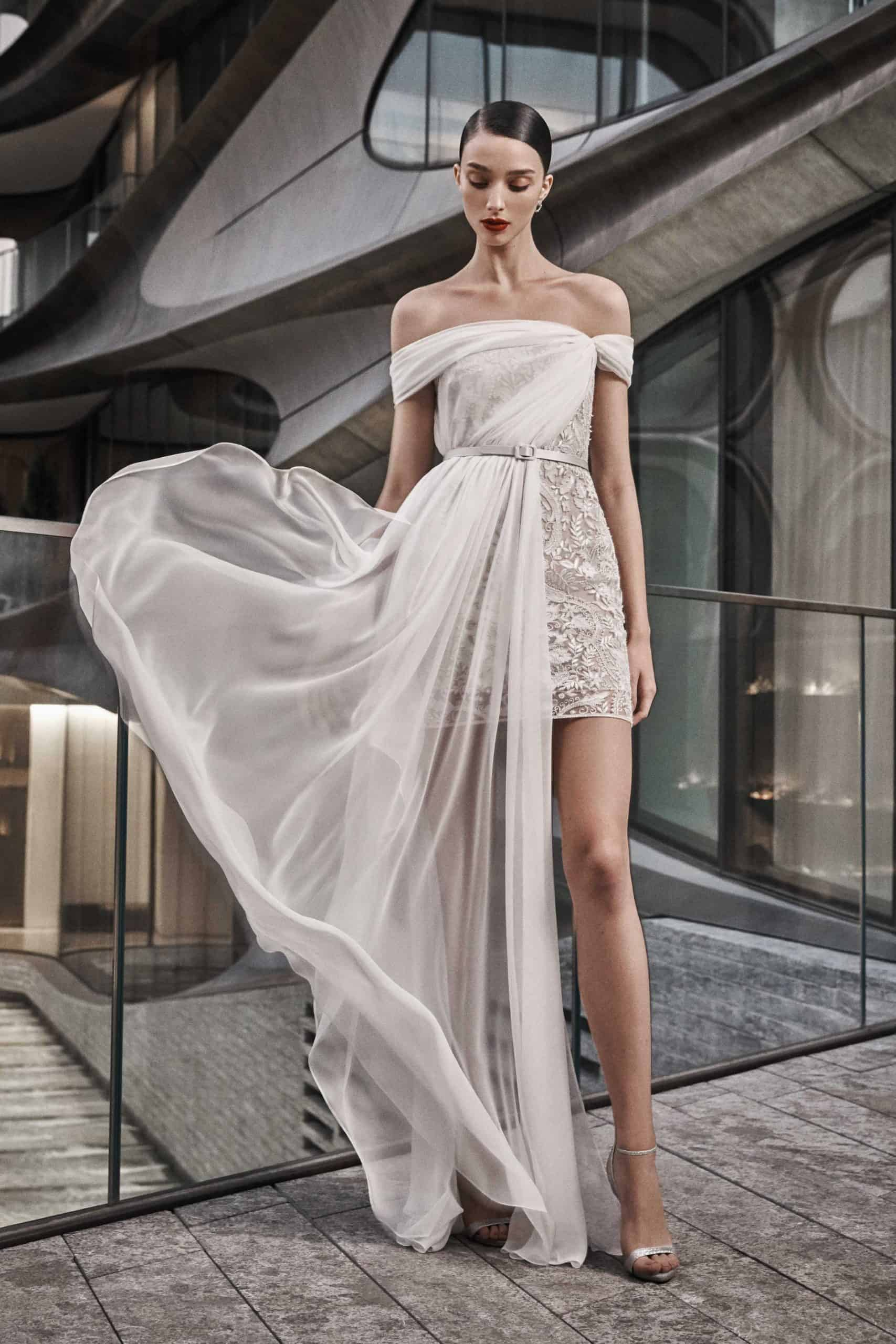 two levelled wedding dress collection fall 2019 by Naeem Khan