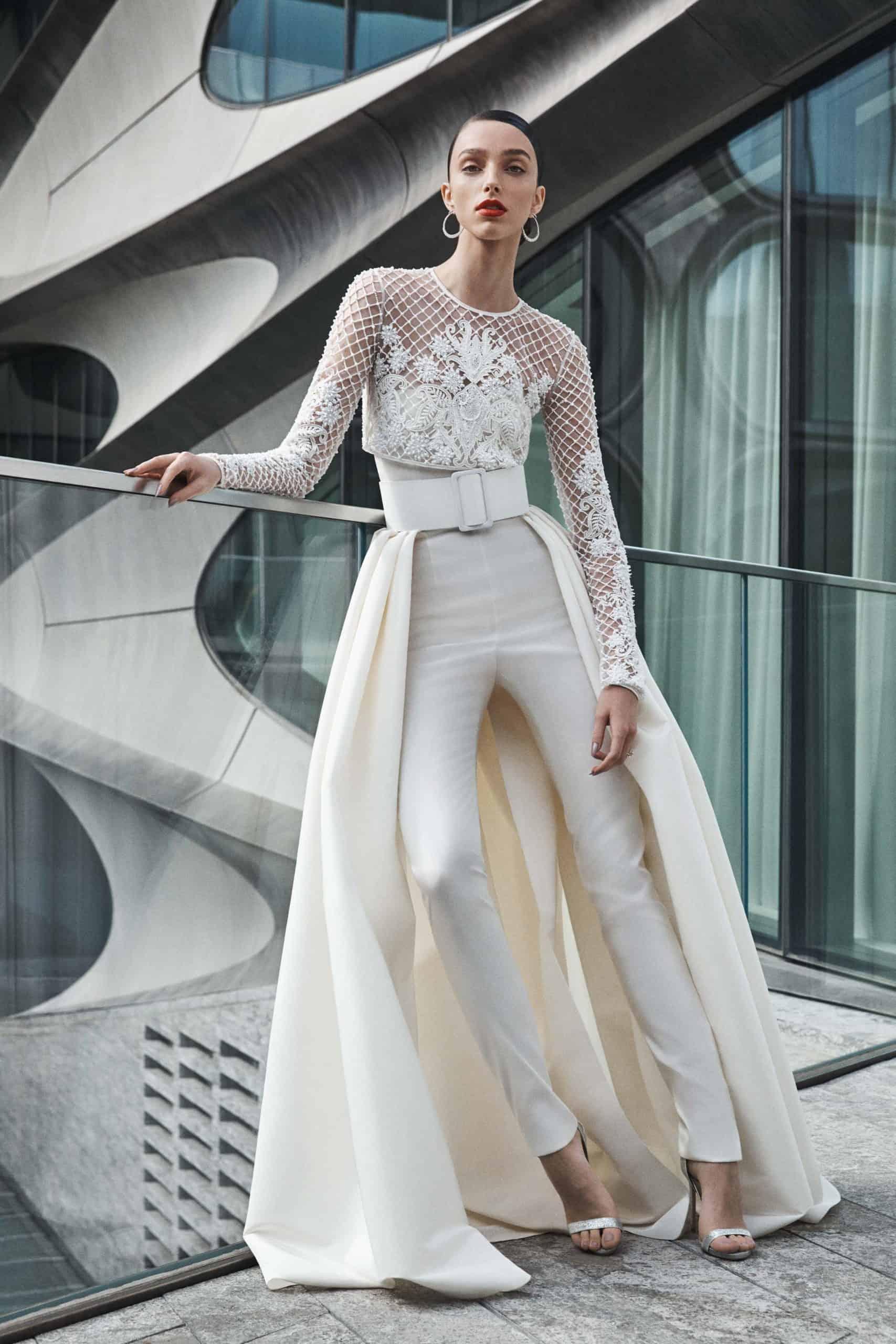 jumpsuit wedding dress collection fall 2019 by Naeem Khan