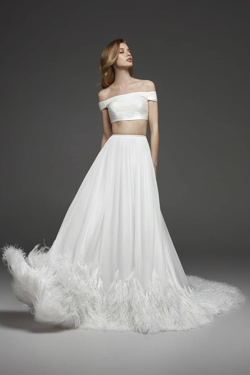 crop top wedding dress collection fall 2019 by Pronovias