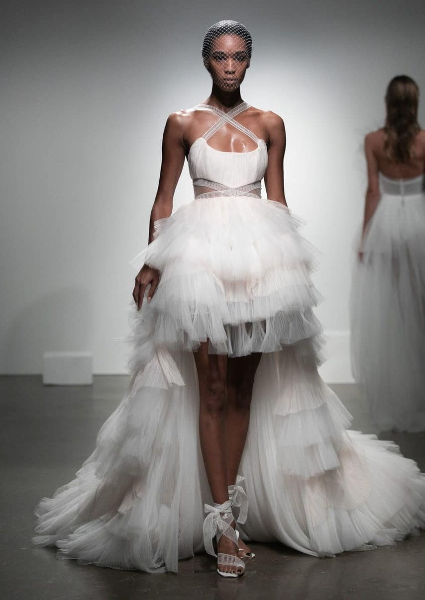 two levelled wedding dress collection fall 2019 by Rime Arodaky