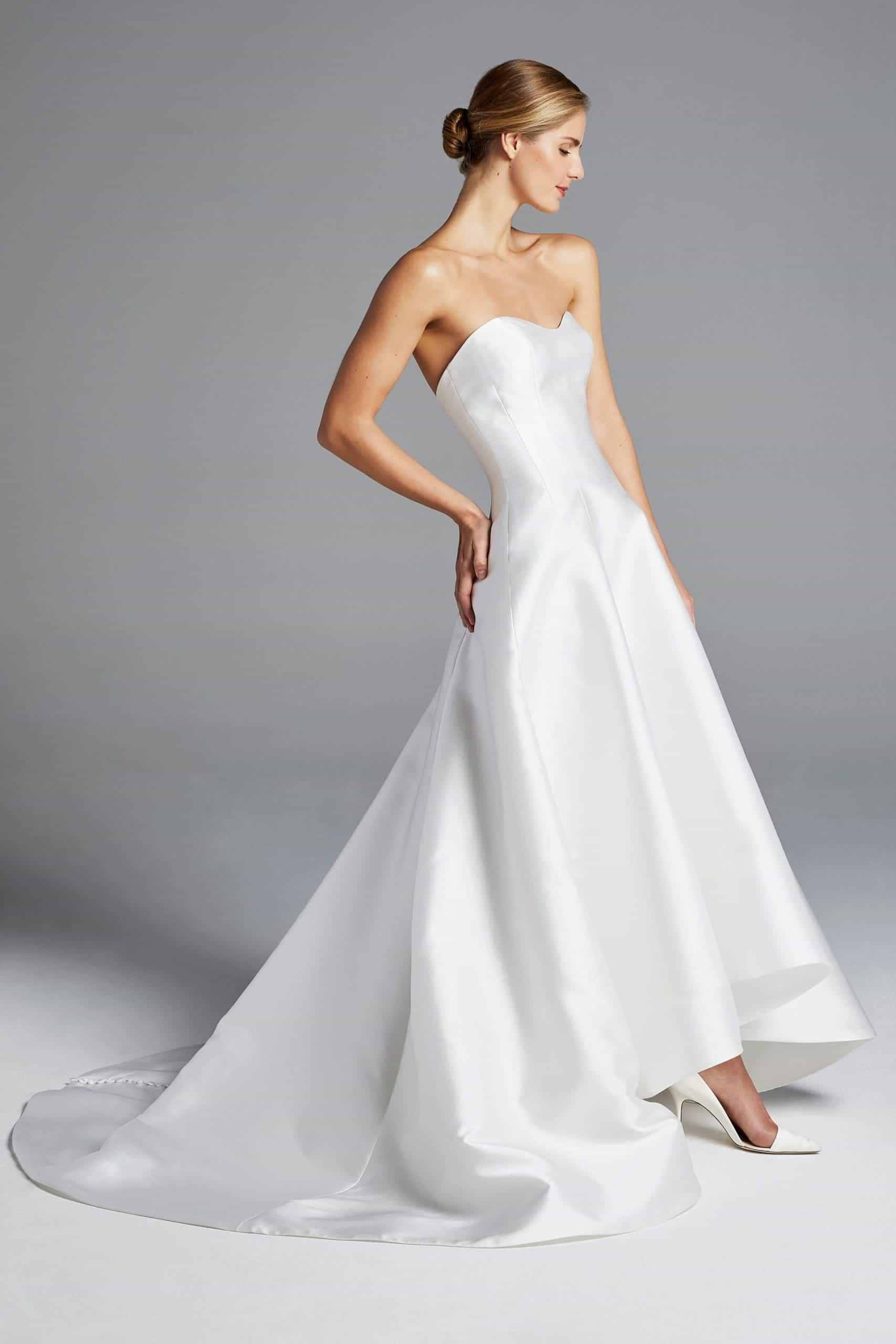 strapless silk wedding dress by Anne Barge