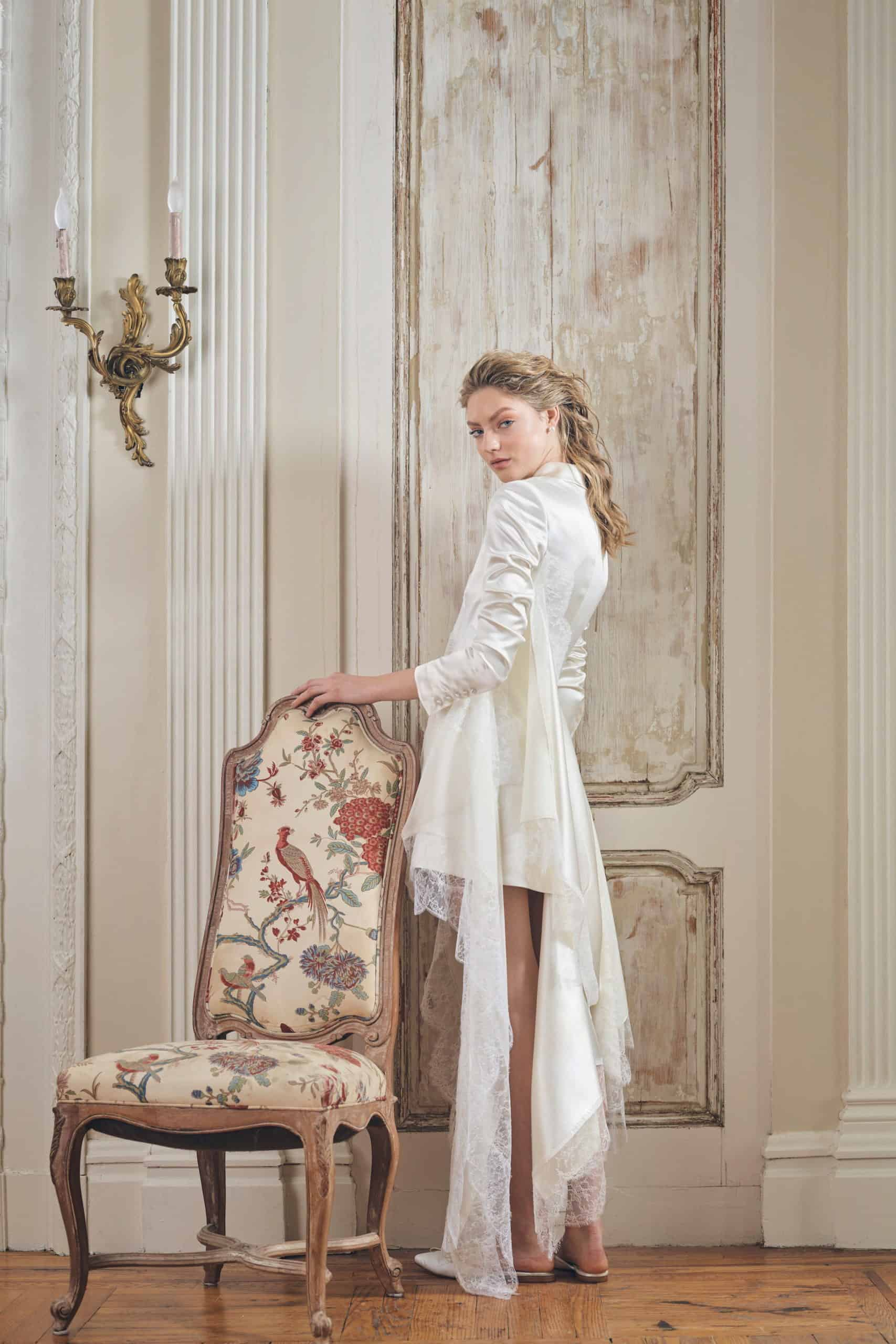 wedding dress with a jacket with tail by Danielle Frankel