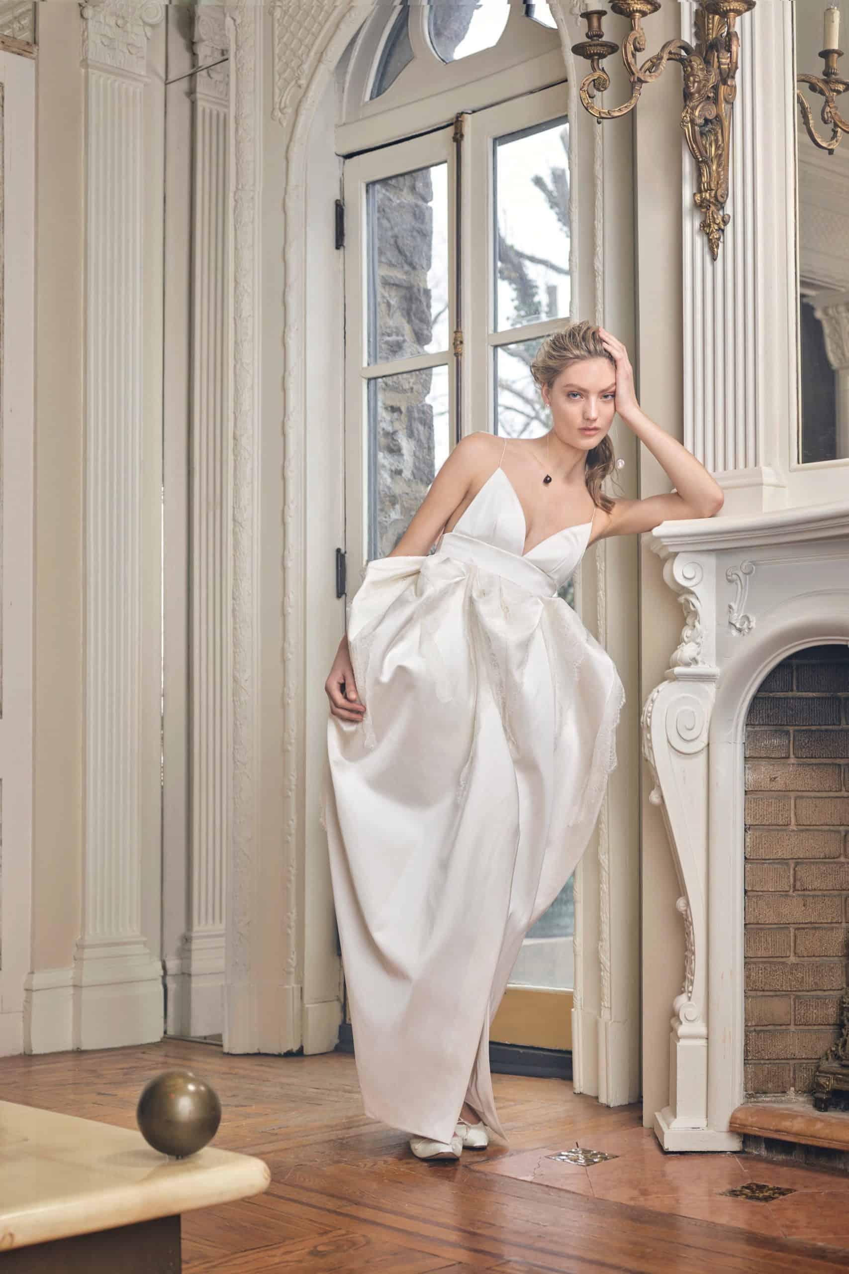 wedding dress with a twist skirt by Danielle Frankel