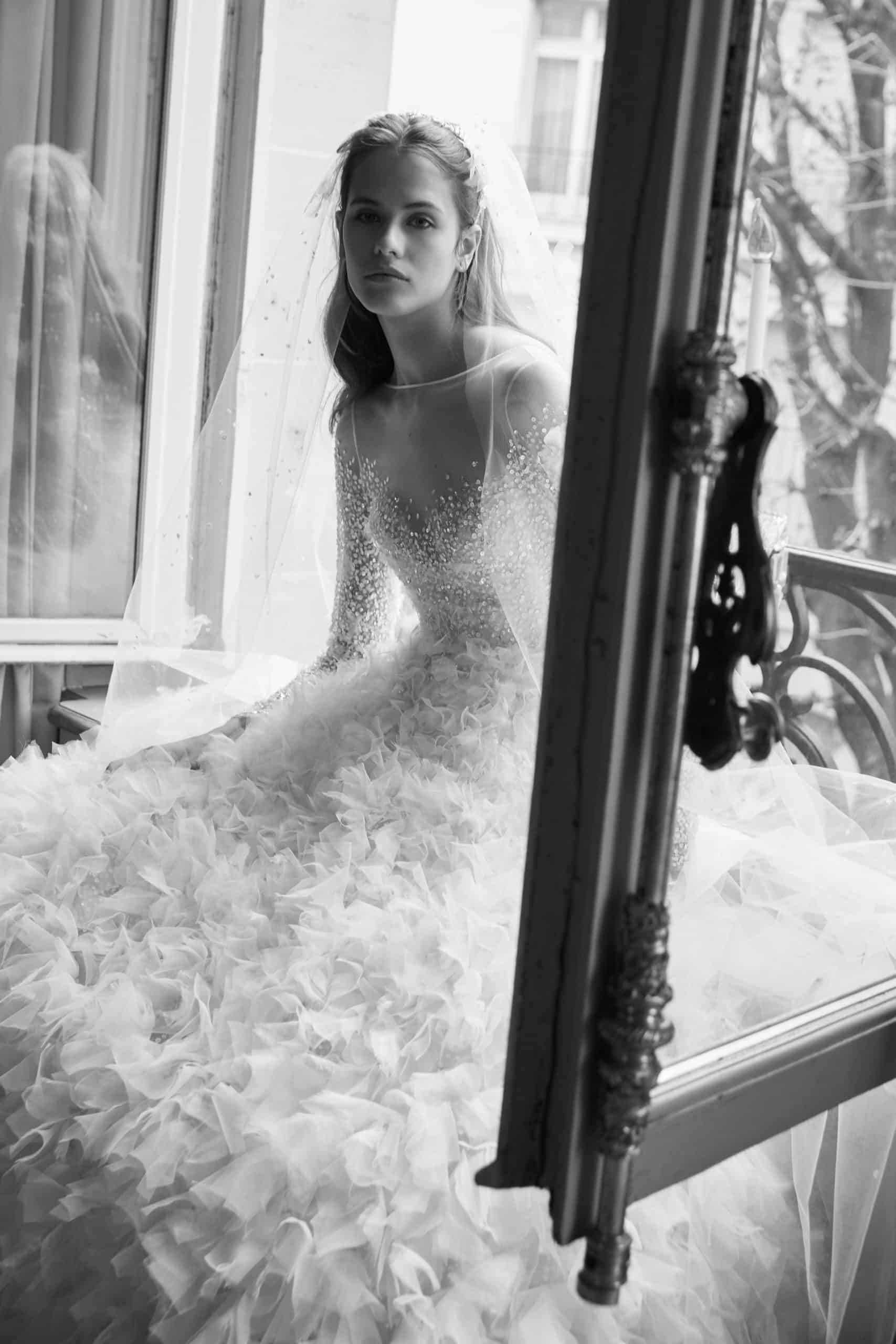 princes wedding dress with a see-through pearls top by Elie Saab