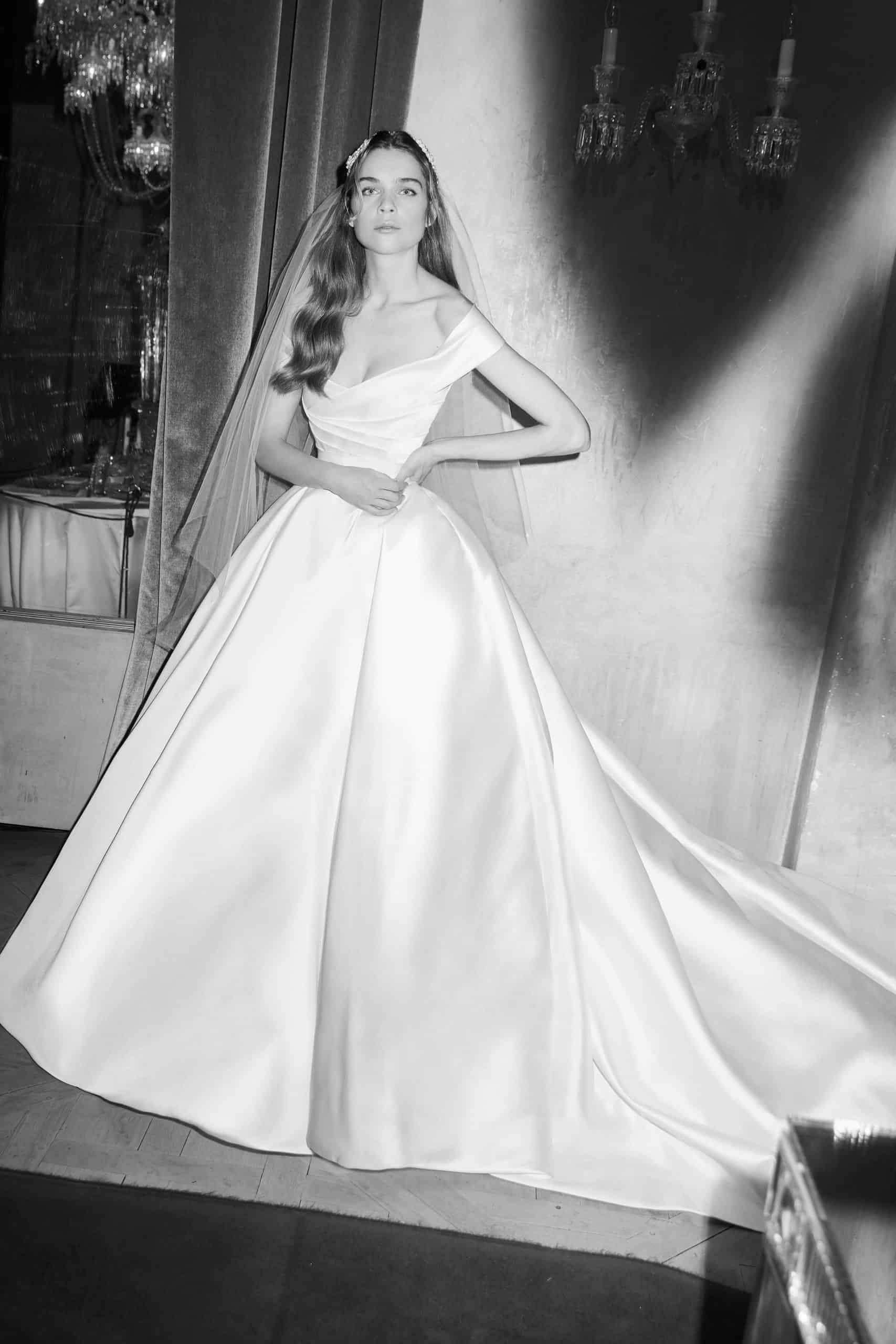 silk a line wedding dress by Elie Saab