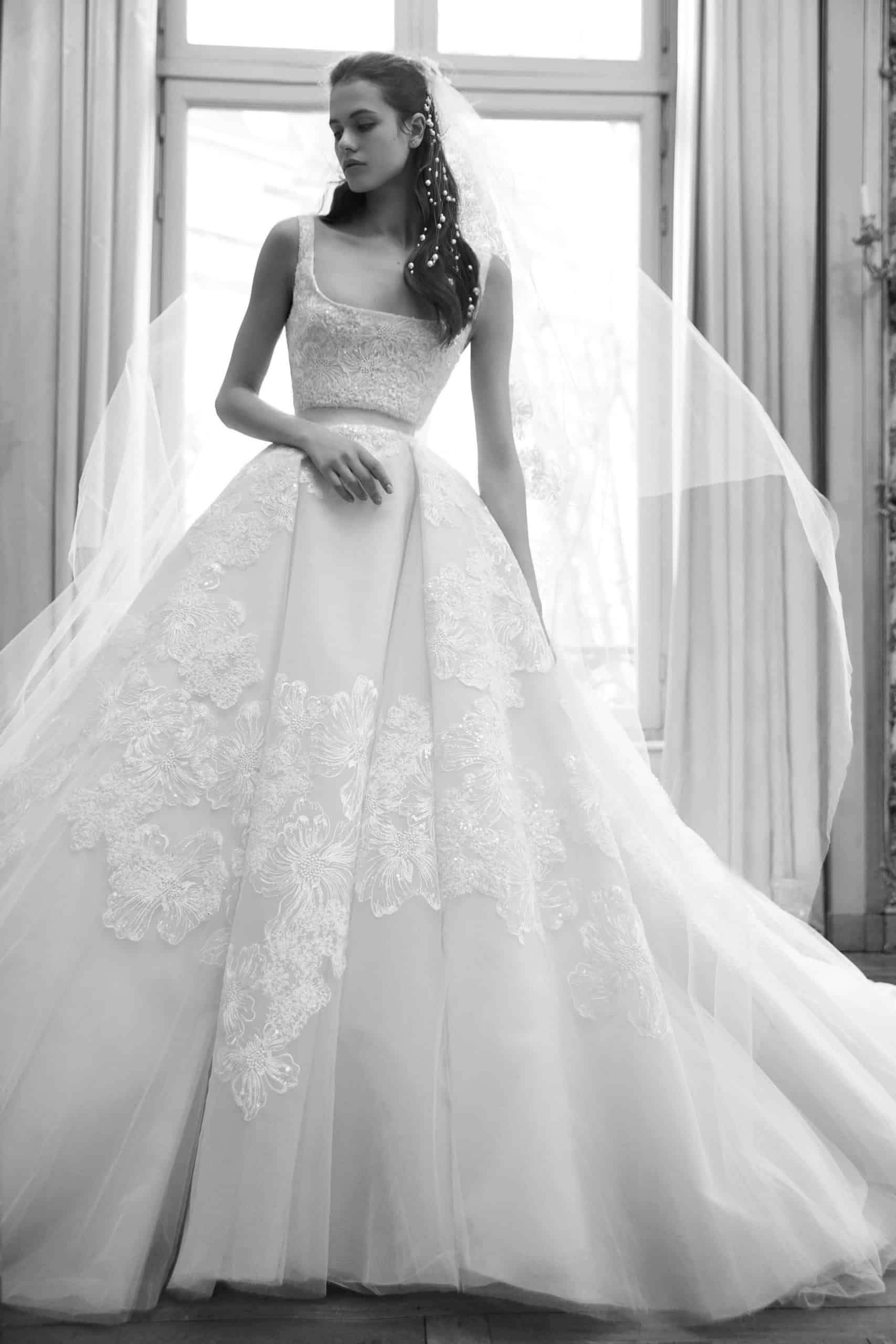 wedding dress with extra volume skirt by Elie Saab