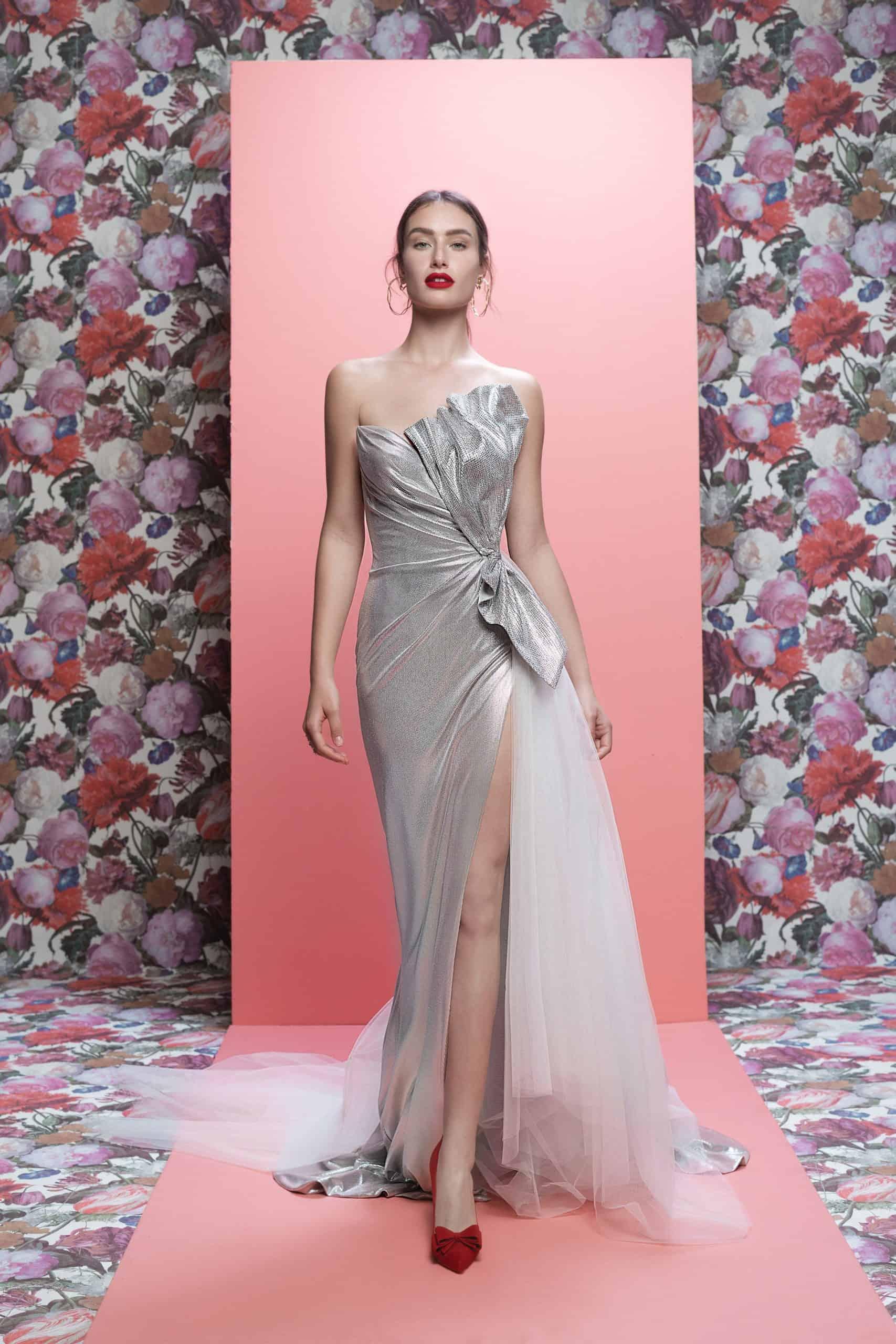 metallic wedding dress with a bow by Galia Lahav