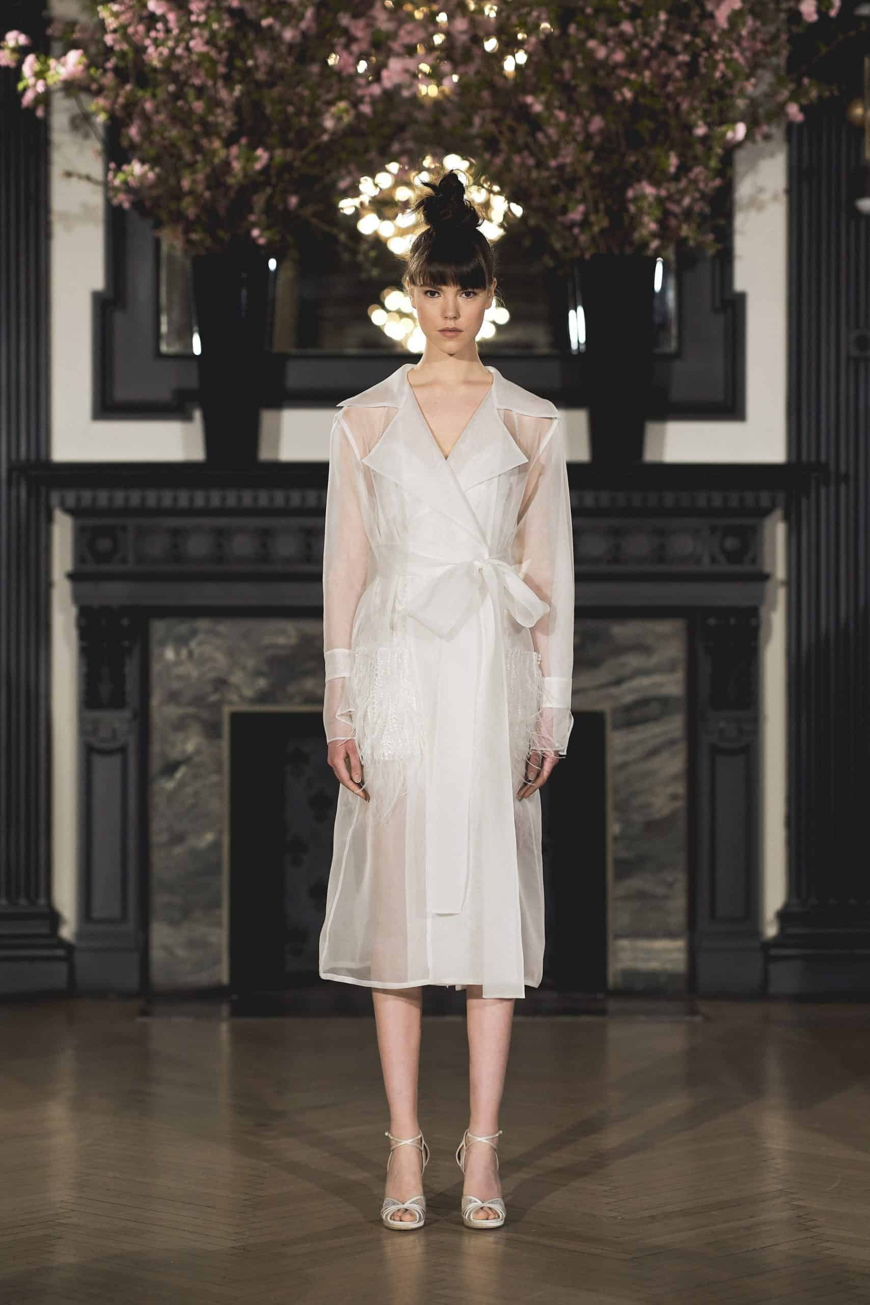 wedding dress with a sea-through jacket by Ines Di Santo