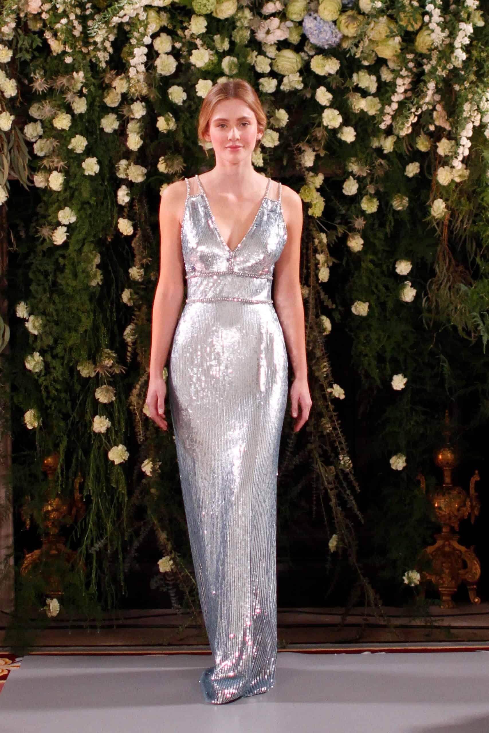 metallic wedding dress by Jenny Packham