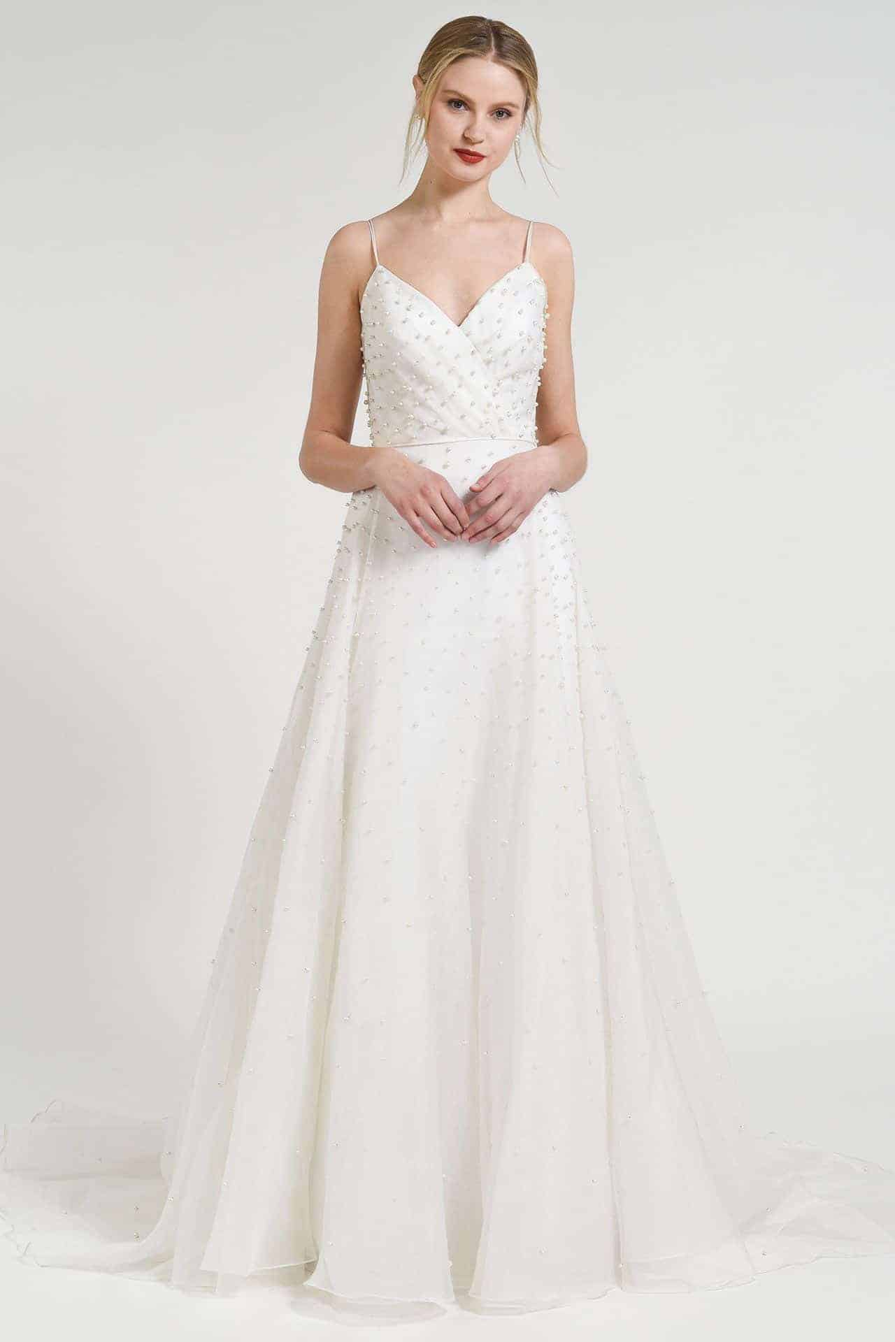 simple wedding dress with pearls by Jenny Yoo