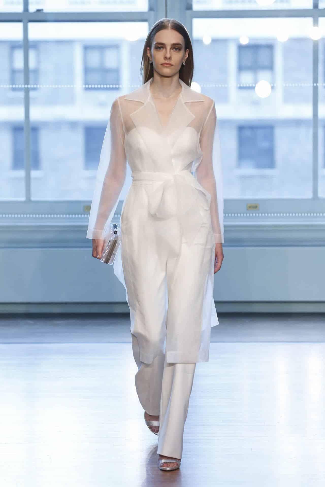 wedding dress with a sea-through jacket by Justin Alexander