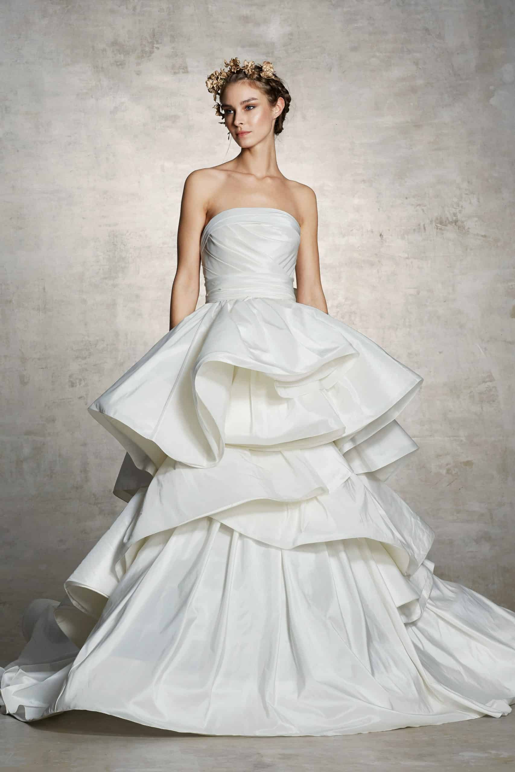 wedding dress with layers skirt by Marchesa