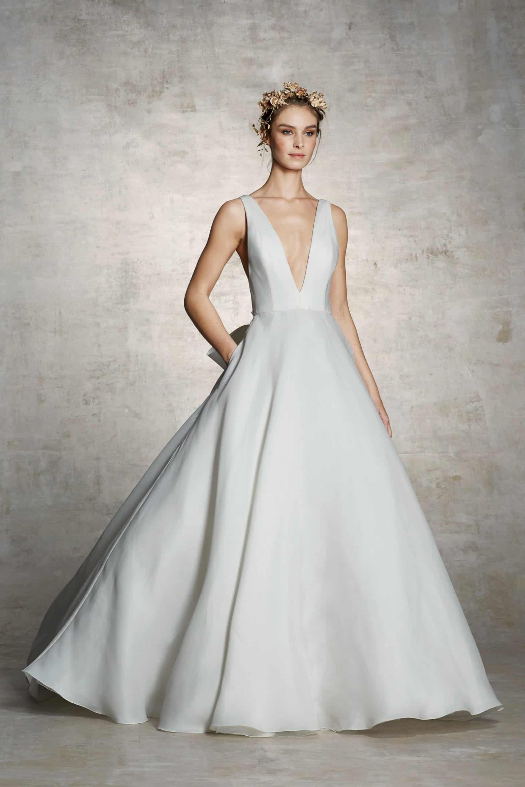 V-neck a line wedding dress by Marchesa