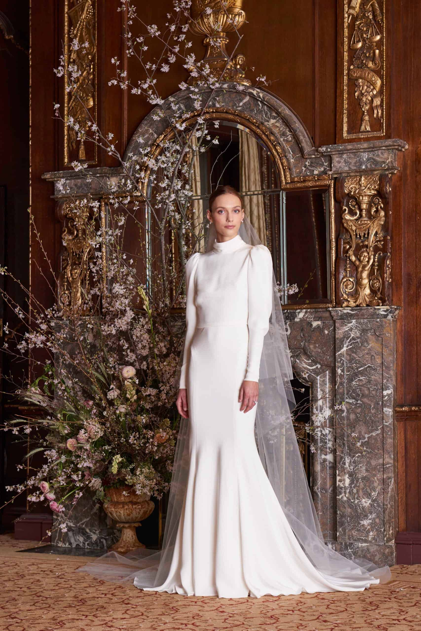 a-line wedding dress with long sleeves by Monique Lhuillier