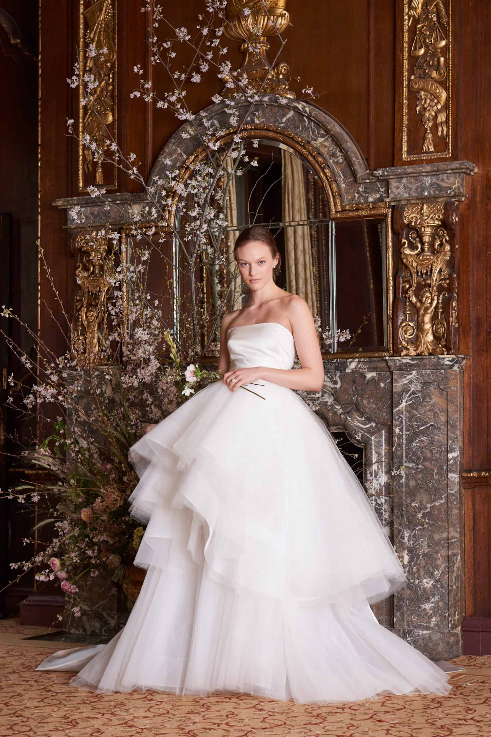 wedding dress with two layers skirt by Monique Lhuillier