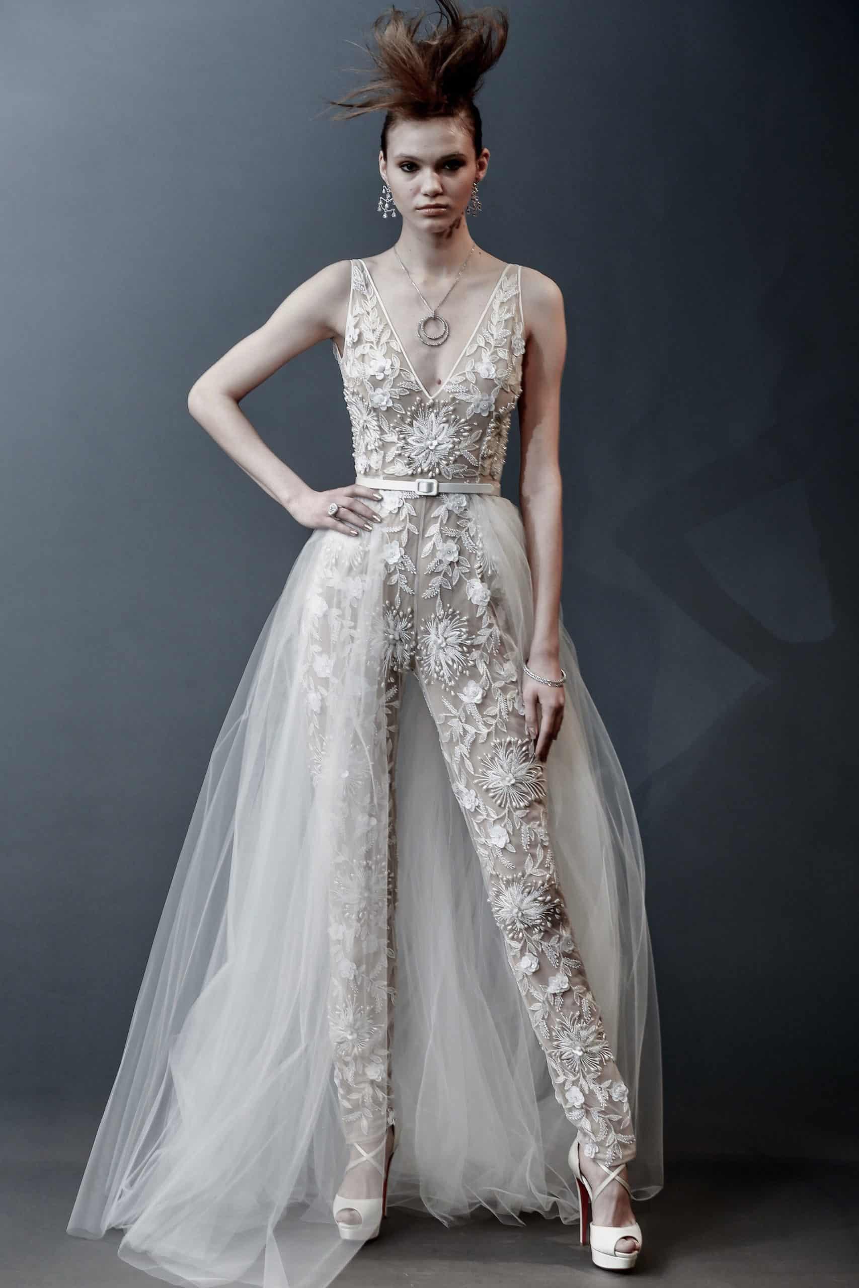 laced jumpsuit wedding dress by Naeem Kham