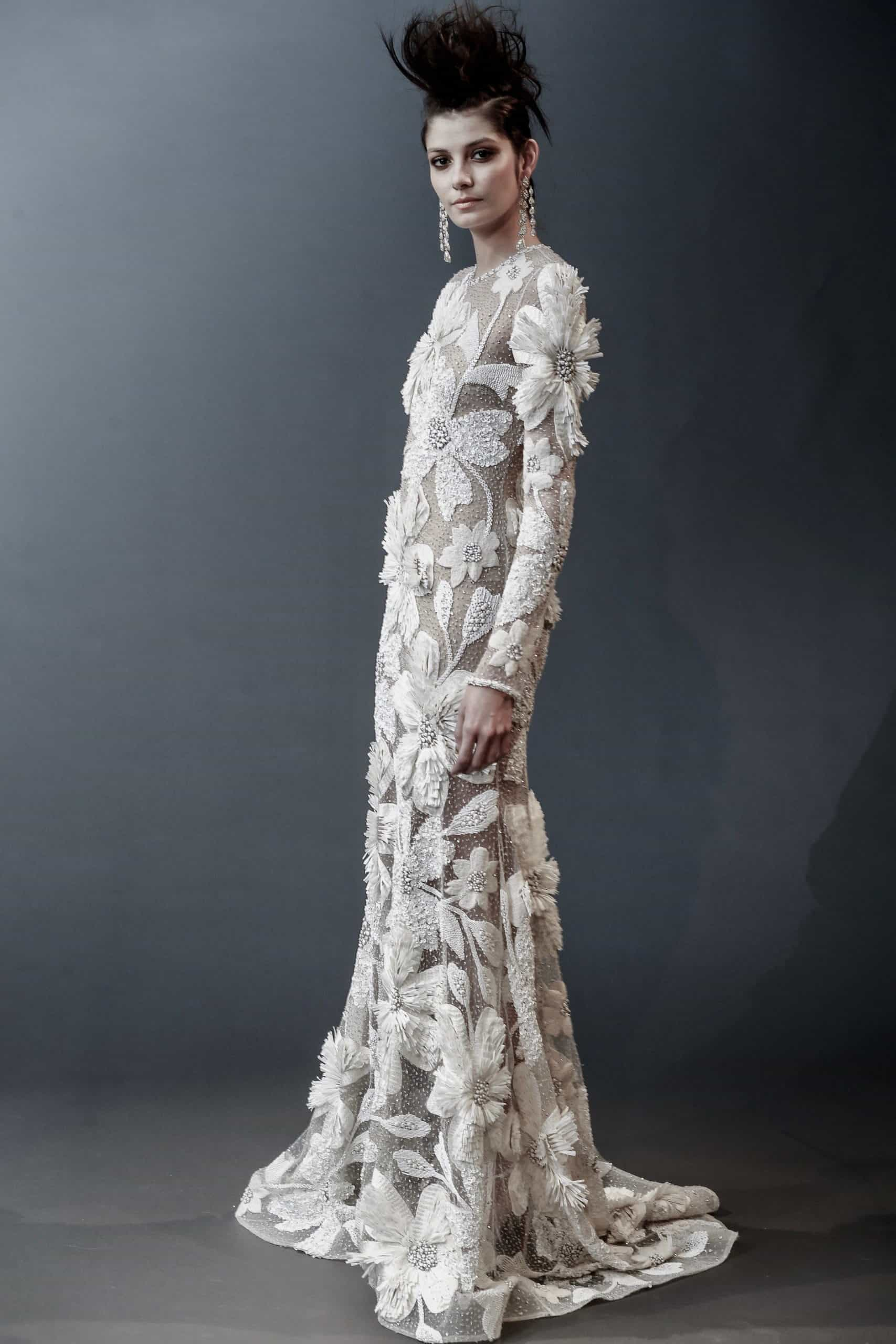 wedding dress with embossed flowers with pearls by Naeem Khan