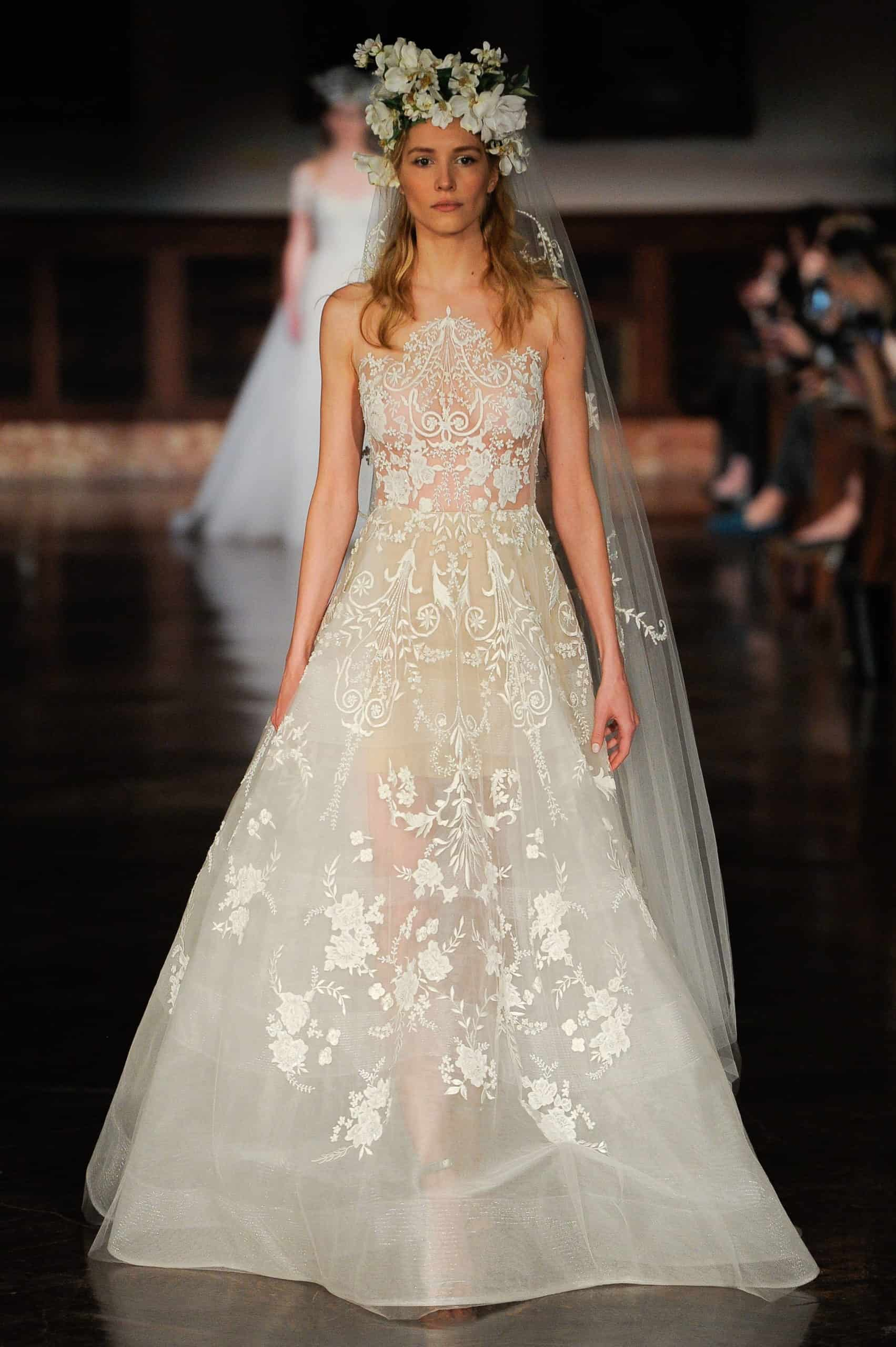 see-through laced wedding dress by Reem Acra