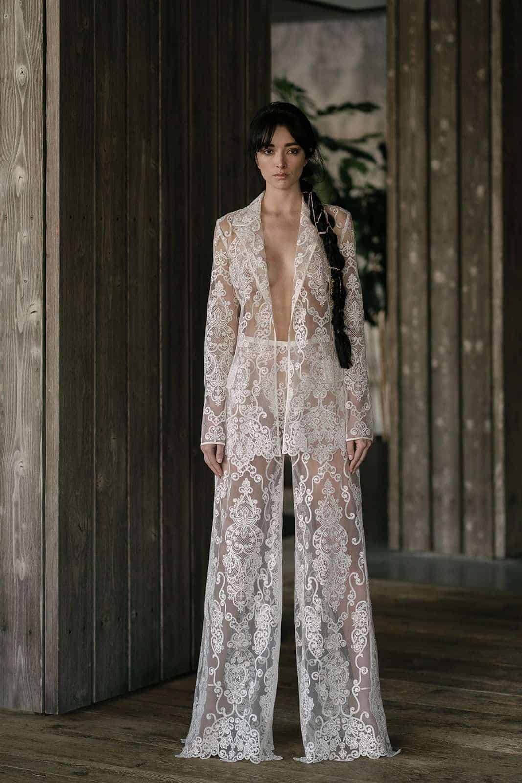 two pieces see-through laced jumpsuit wedding dress by Rita Vinieris